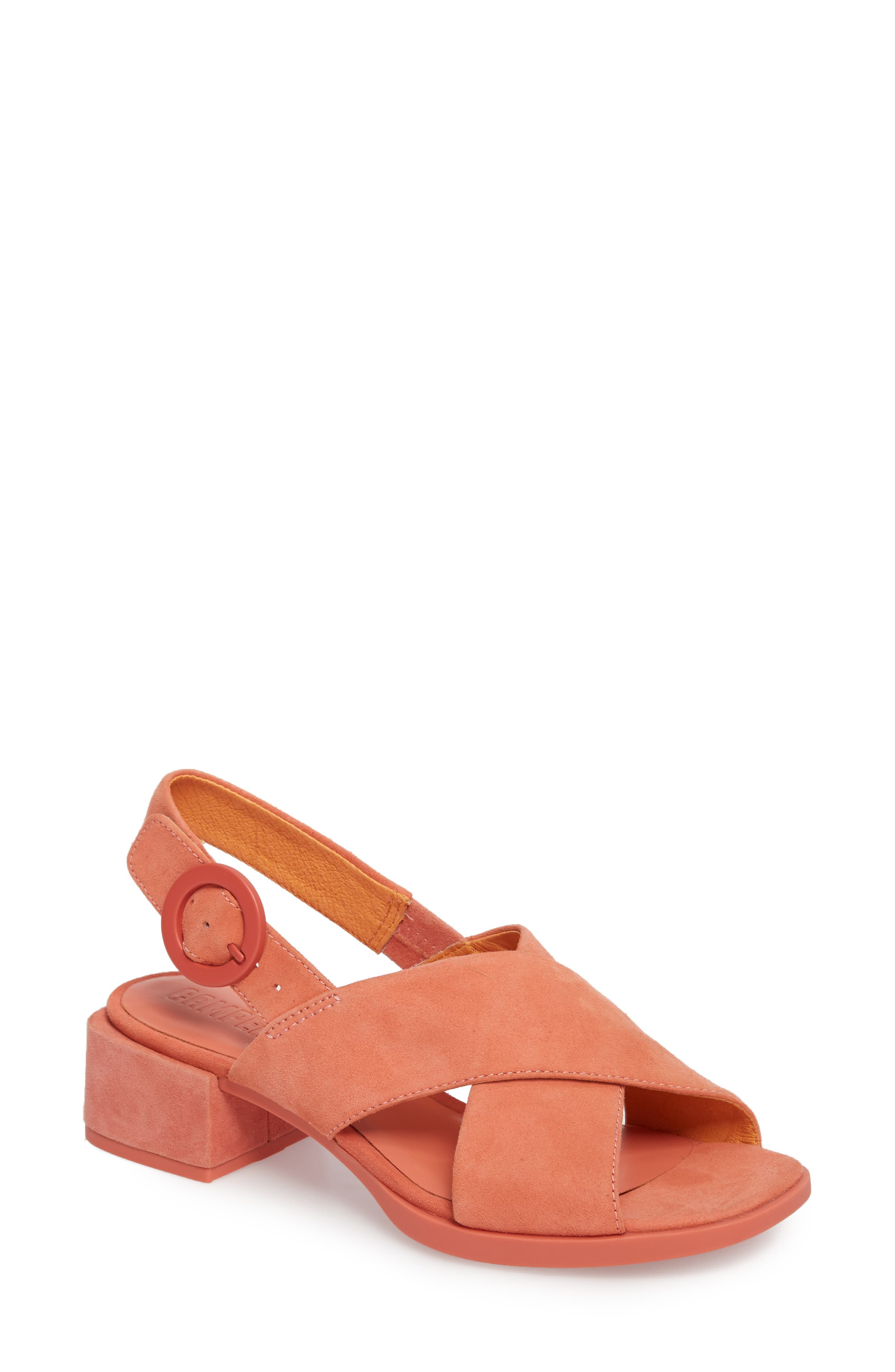 Kobo Cross Strap Sandal,                             Main thumbnail 1, color,                             MEDIUM PINK LEATHER