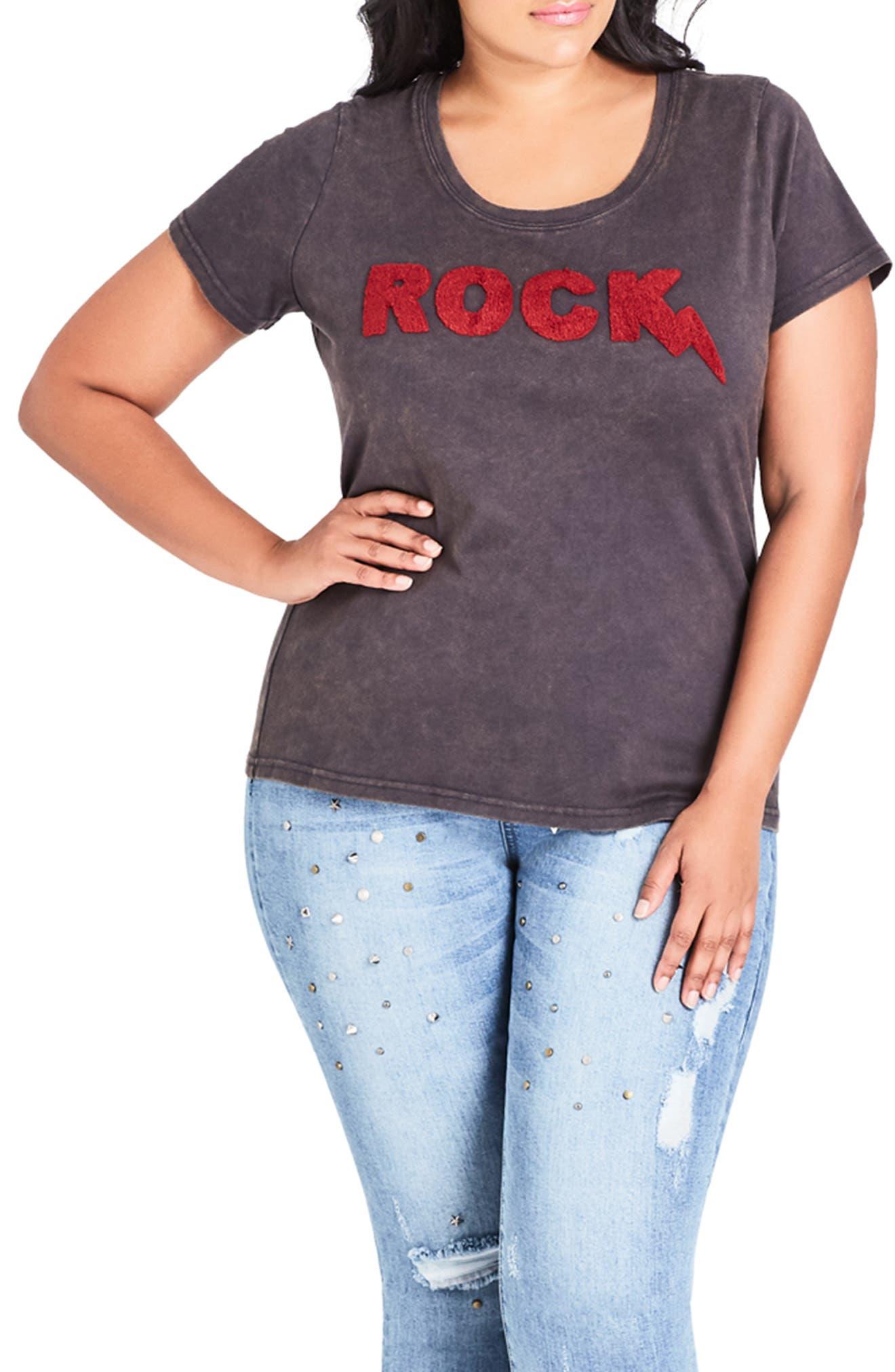 Plus Size City Chic Rock Tee, Grey