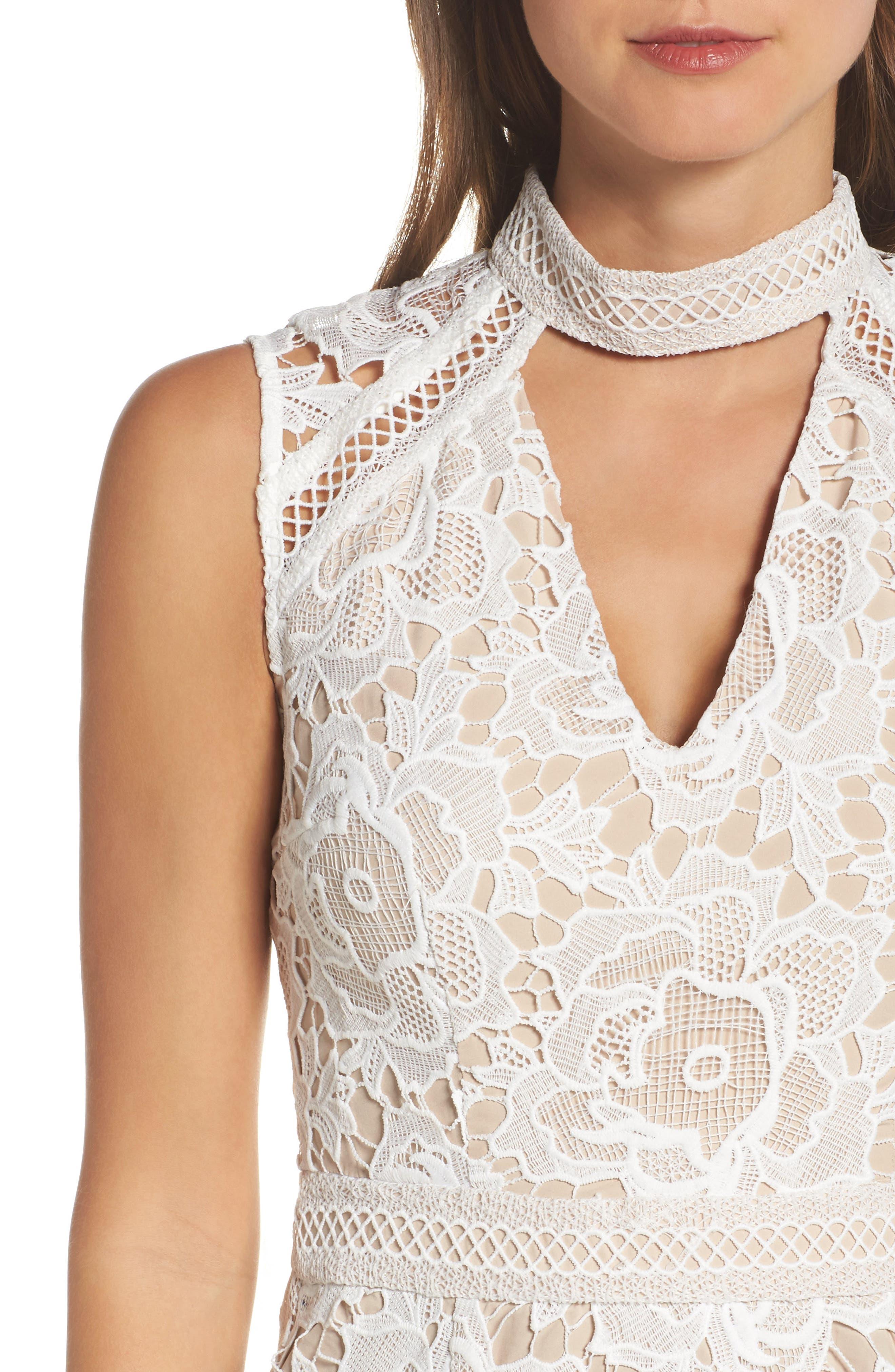 Alessandra Lace Choker Midi Dress,                             Alternate thumbnail 4, color,                             100