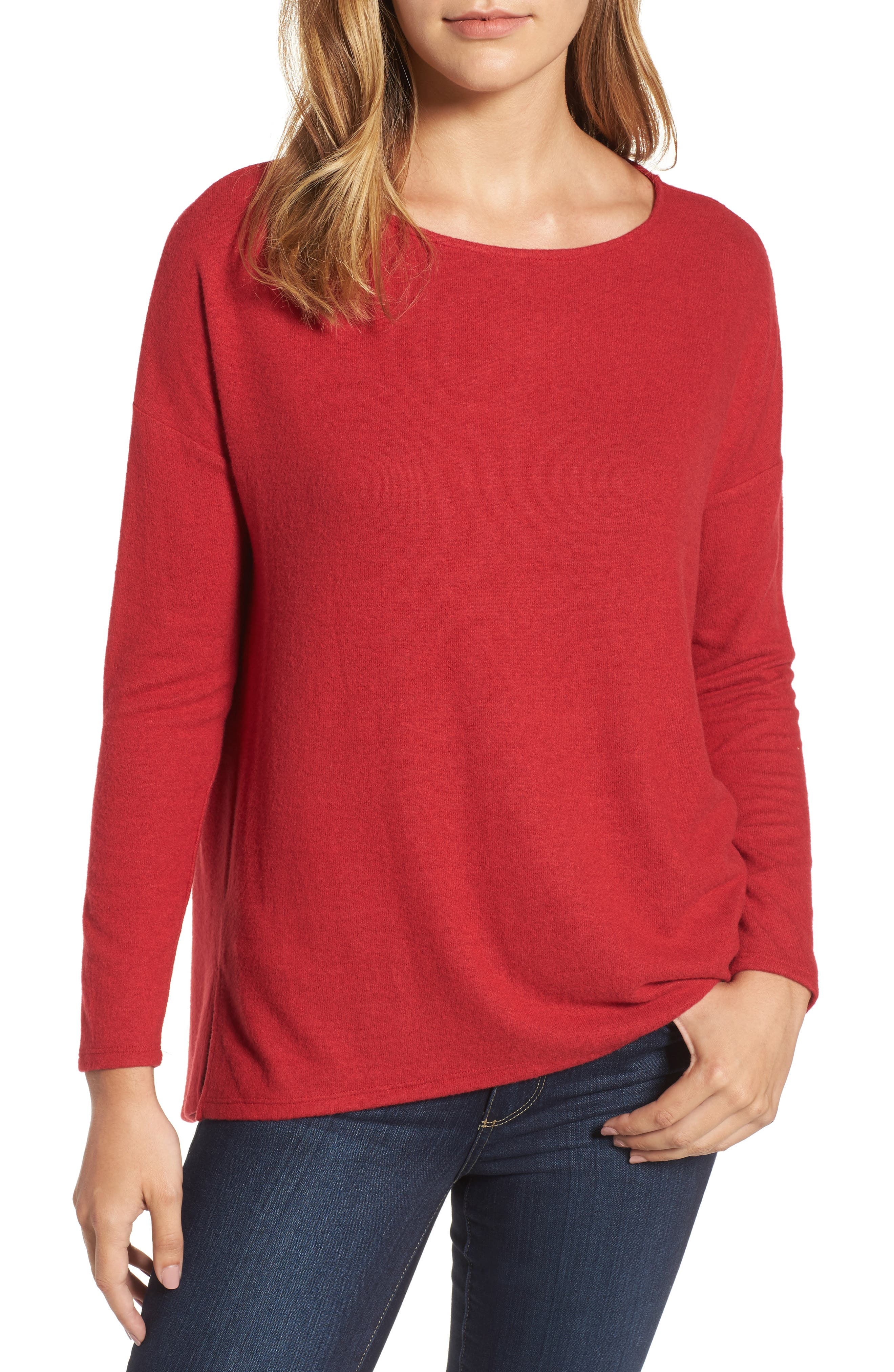 Cozy Ballet Neck High/Low Pullover,                             Main thumbnail 4, color,