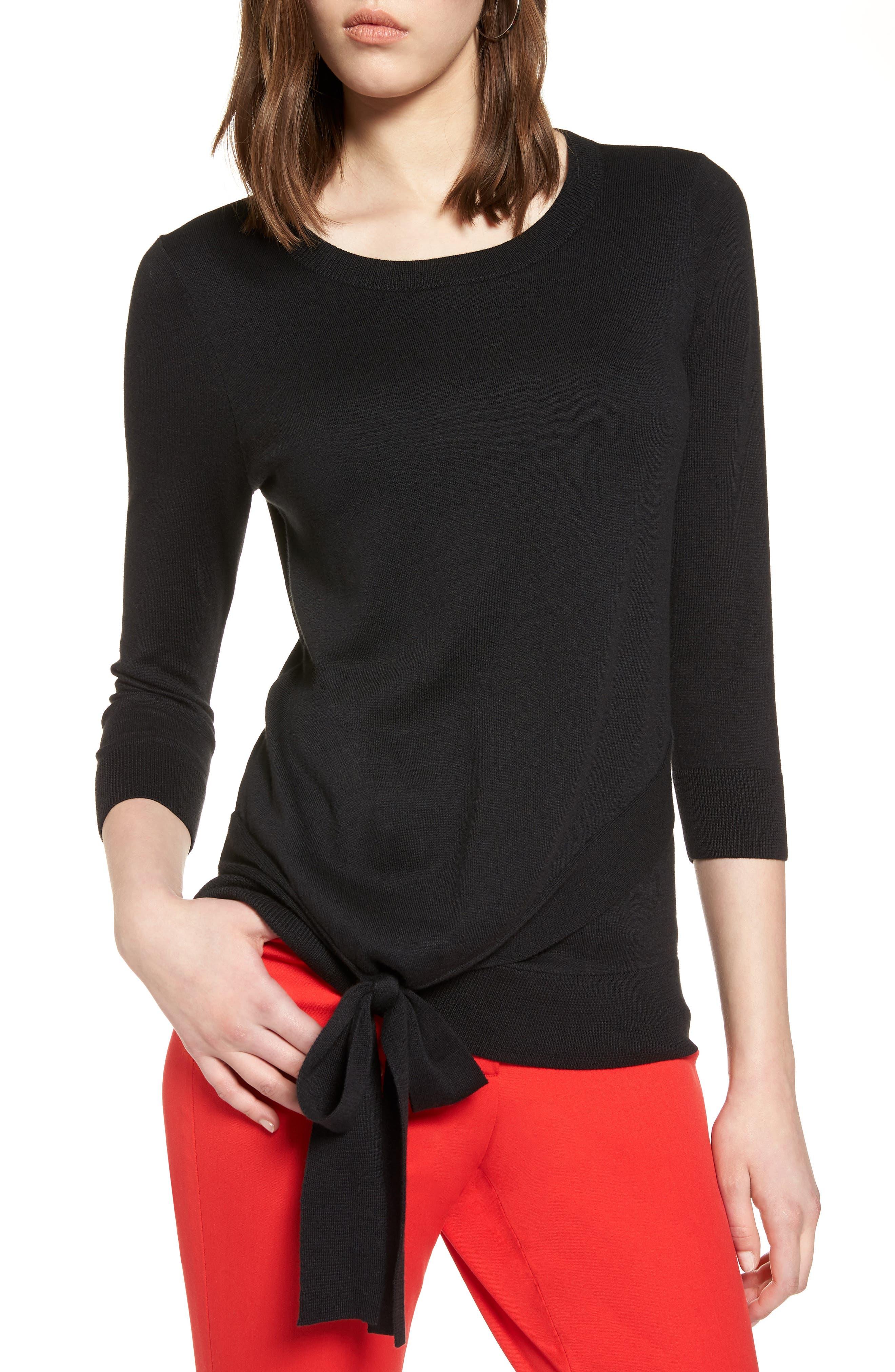 Pima Cotton Blend Tie Sweater,                         Main,                         color, 001