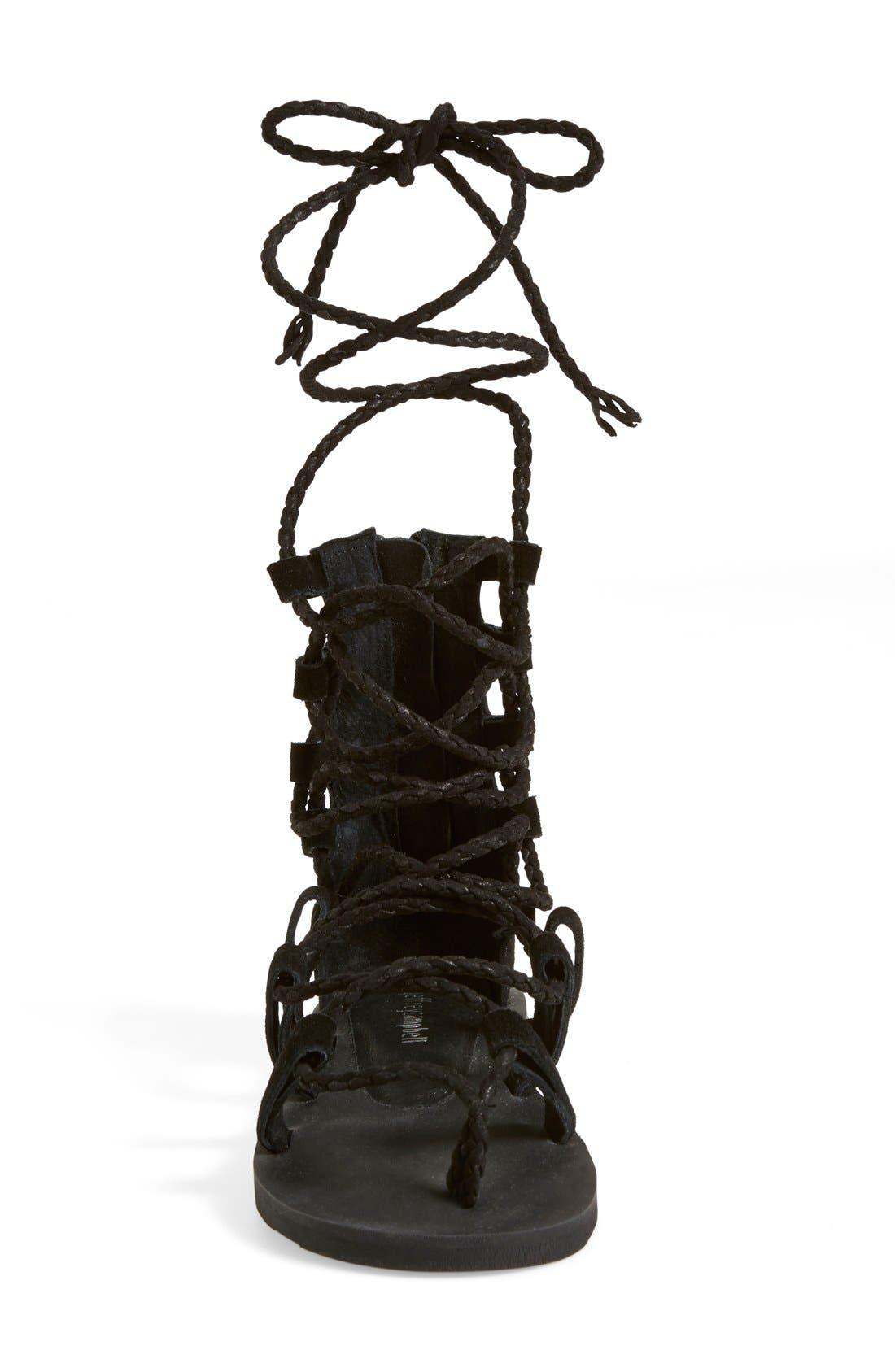 'Hola' Lace-Up Gladiator Sandal,                             Alternate thumbnail 3, color,                             001