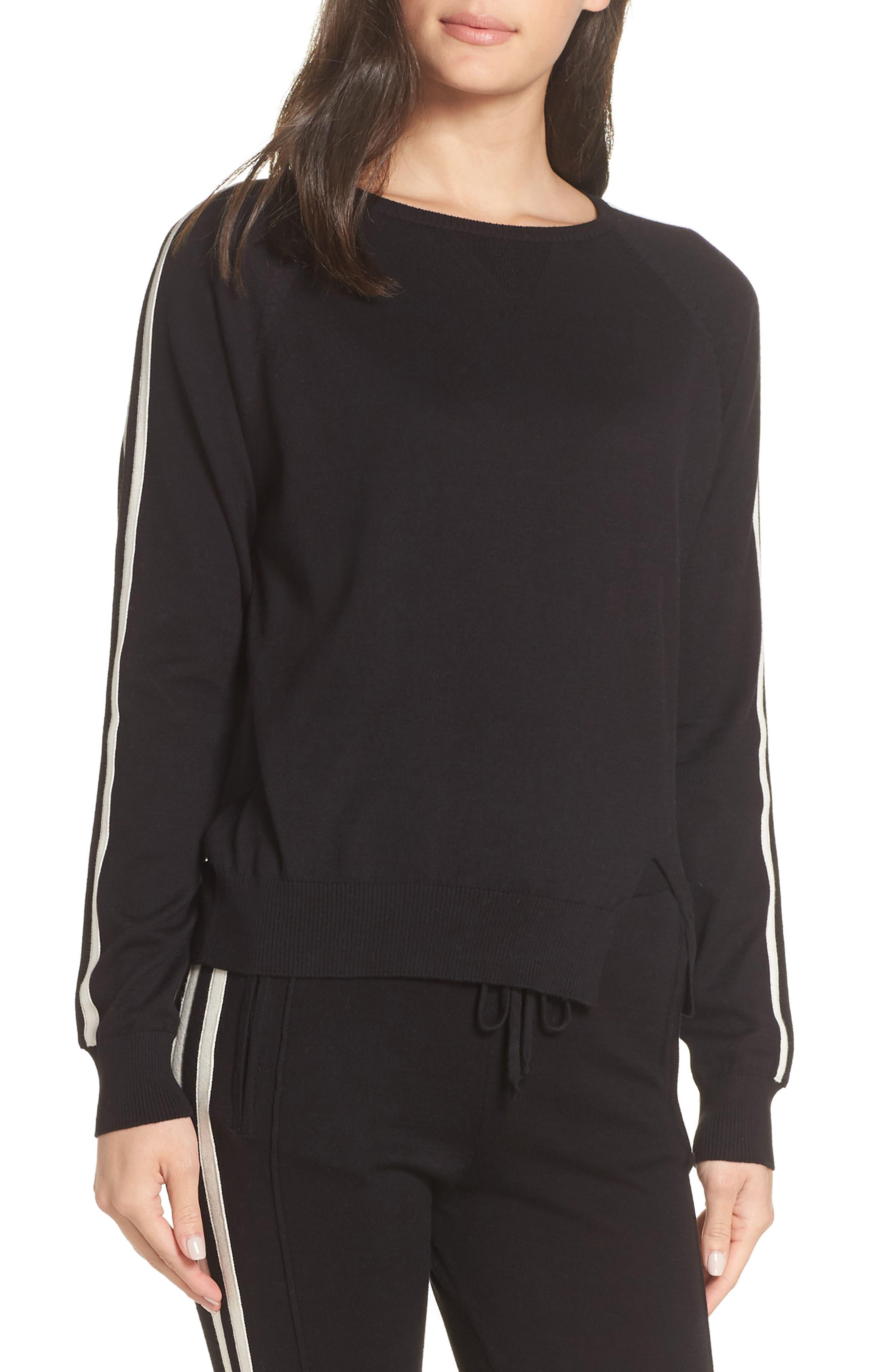 RAGDOLL Stripe Lounge Sweatshirt in Black/ White