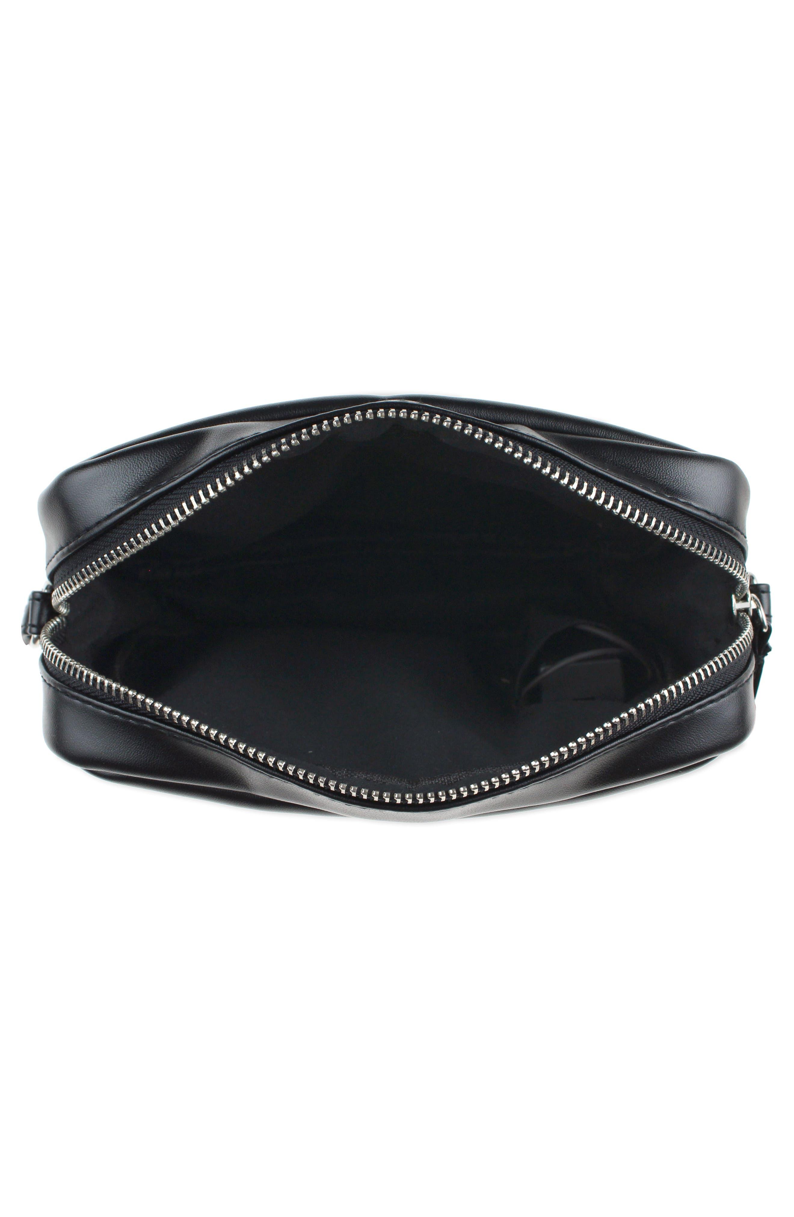 LED Light-Up Smiley Faux Leather Crossbody Bag,                             Alternate thumbnail 3, color,                             002