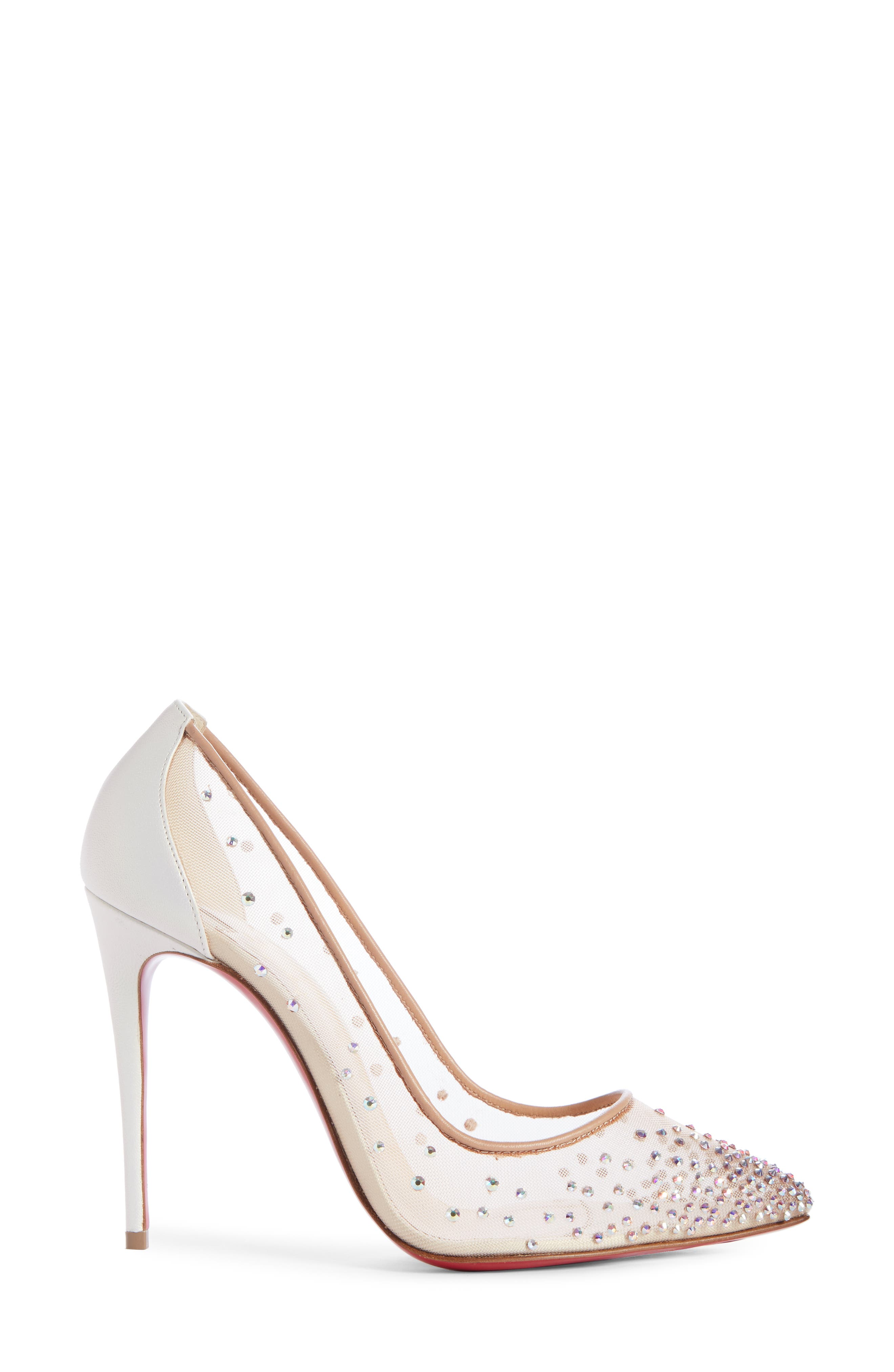 Follies Strass Pointy Toe Pump,                             Alternate thumbnail 3, color,                             SNOW/ NUDE