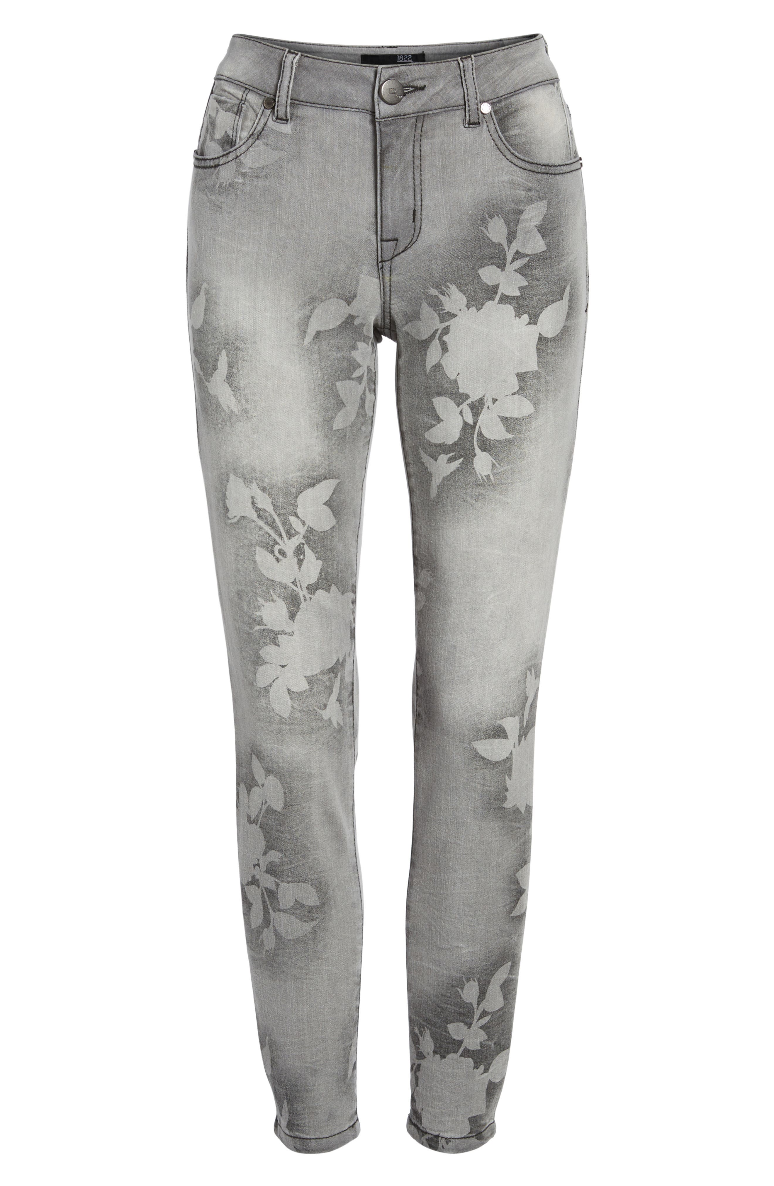 Floral Wash Crop Skinny Jeans,                             Alternate thumbnail 6, color,                             022