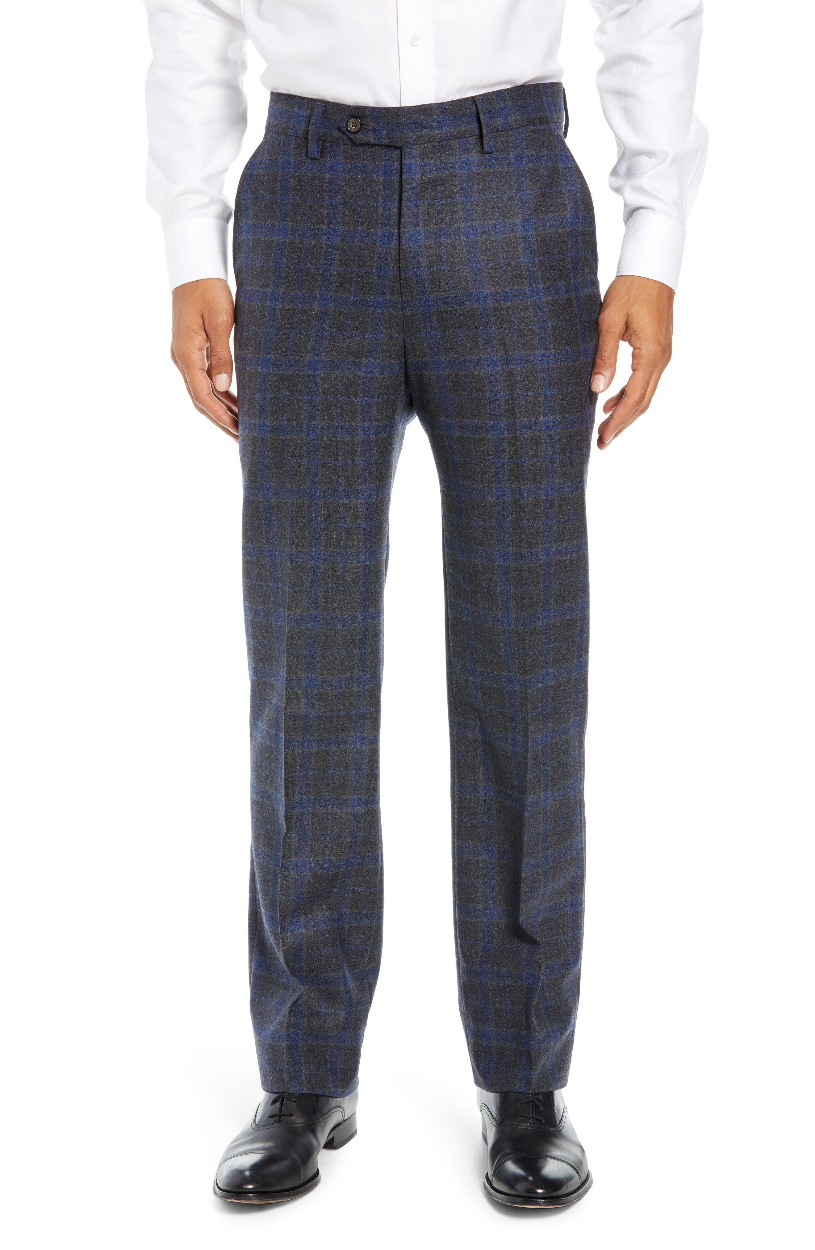 Manufacturing Flat Front Plaid Wool Trousers,                             Main thumbnail 1, color,                             021