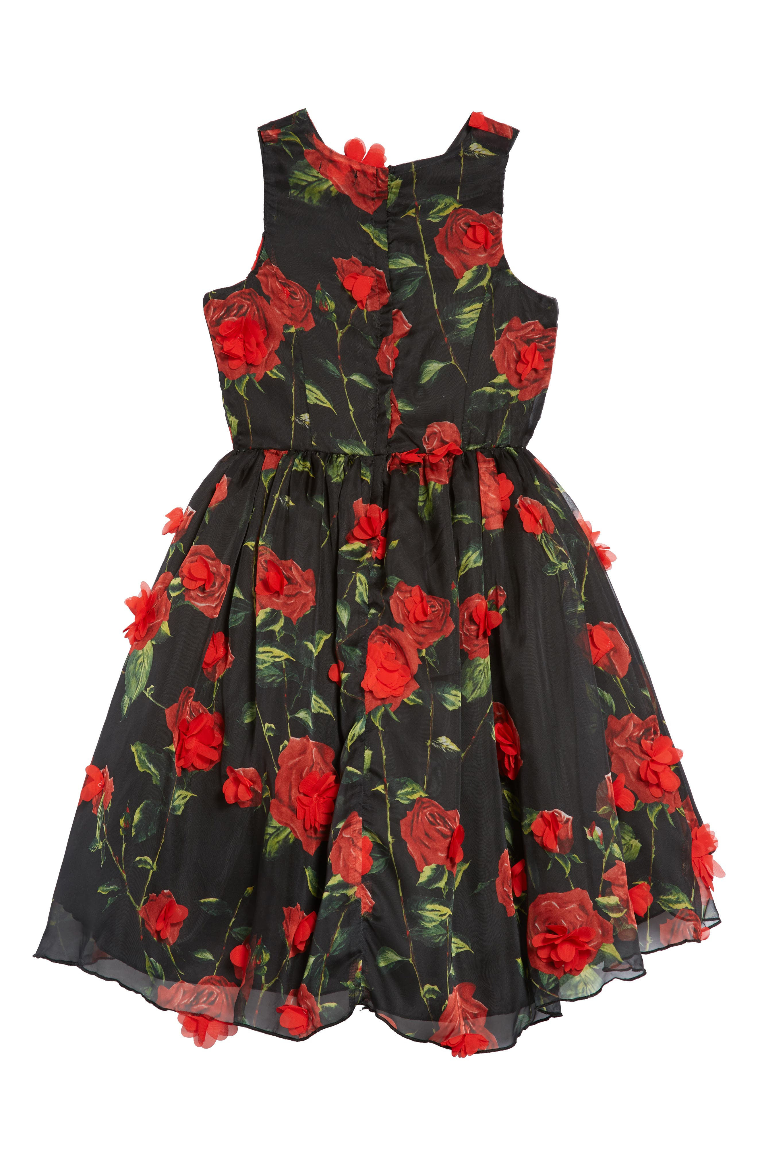 Floral High/Low Fit & Flare Dress,                             Alternate thumbnail 2, color,                             001