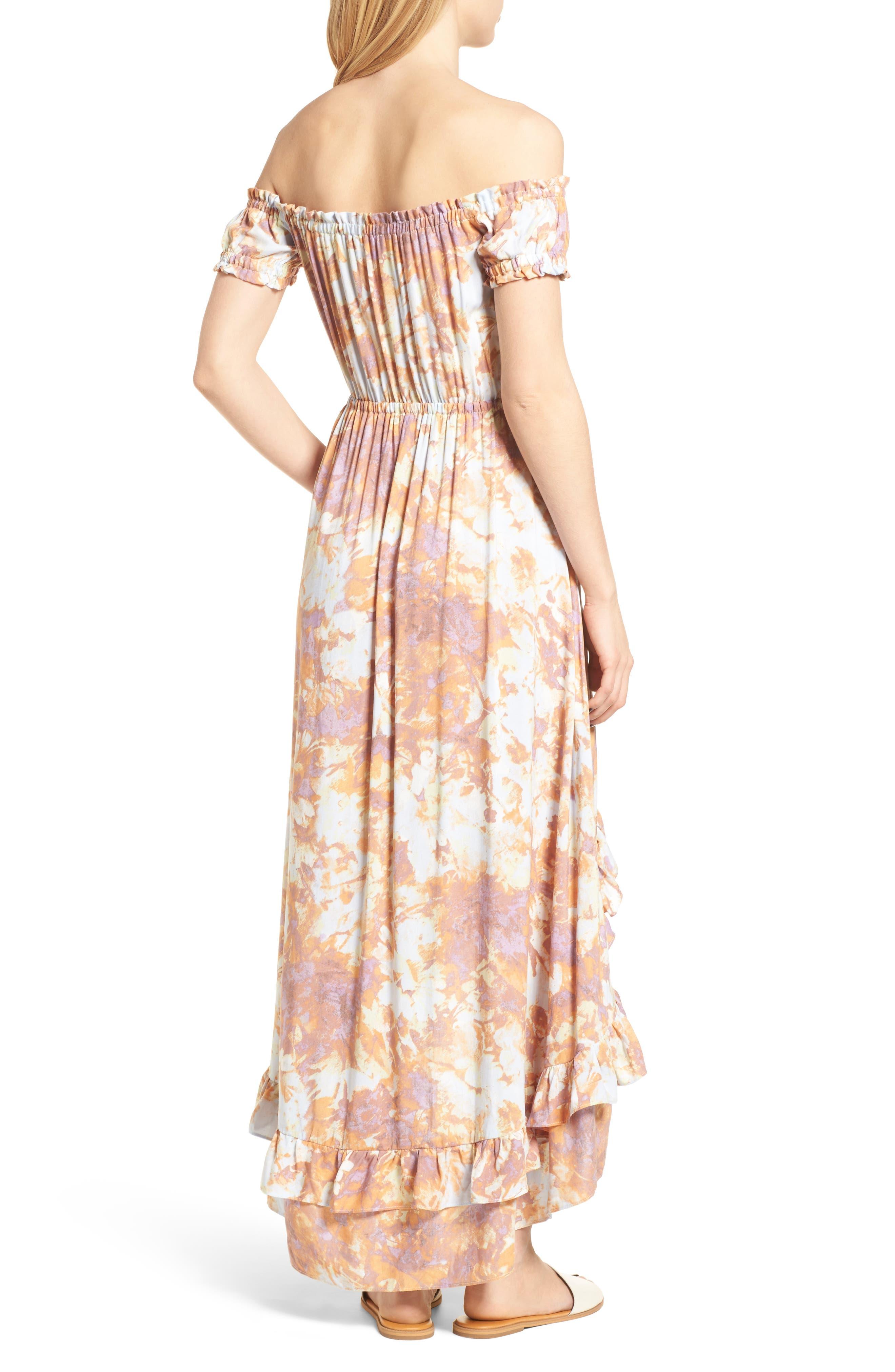High/Low Hem Off the Shoulder Dress,                             Alternate thumbnail 2, color,