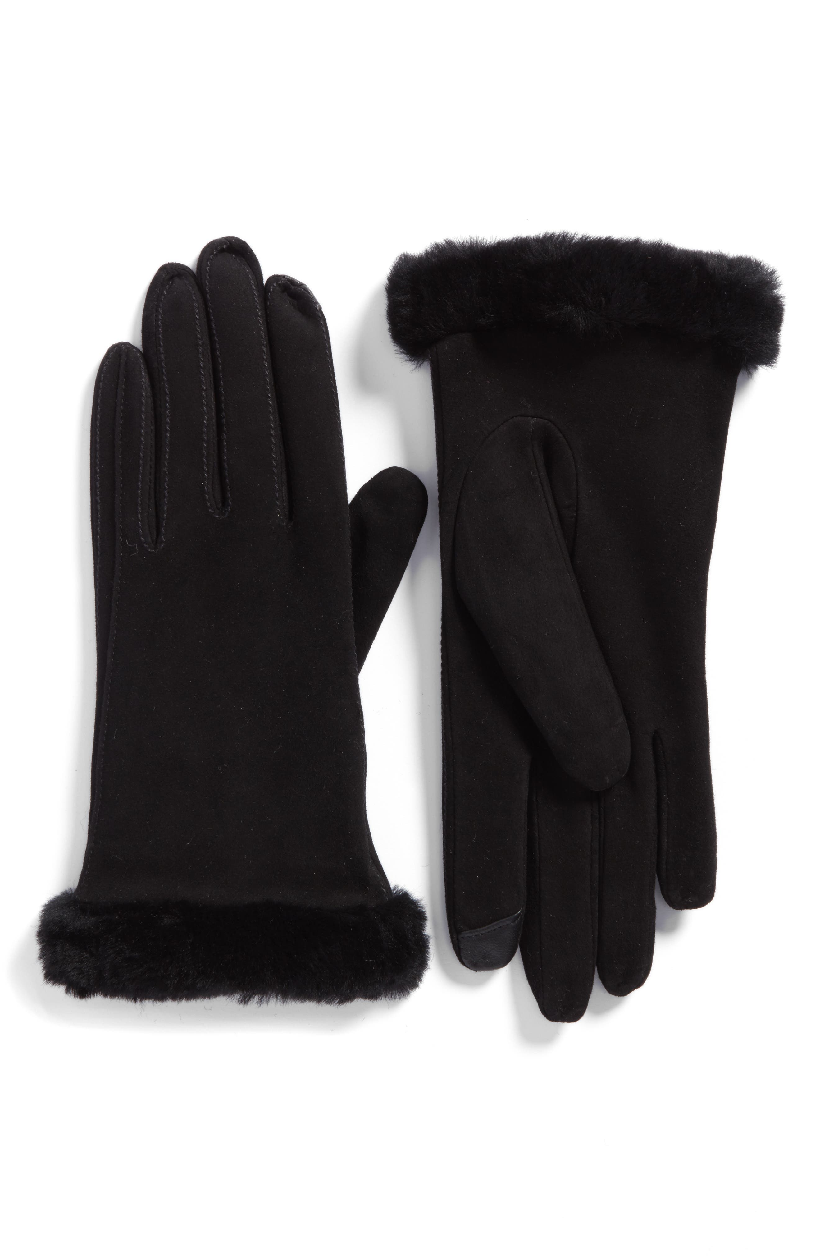 Classic Suede Tech Gloves with Genuine Shearling Trim,                             Main thumbnail 1, color,