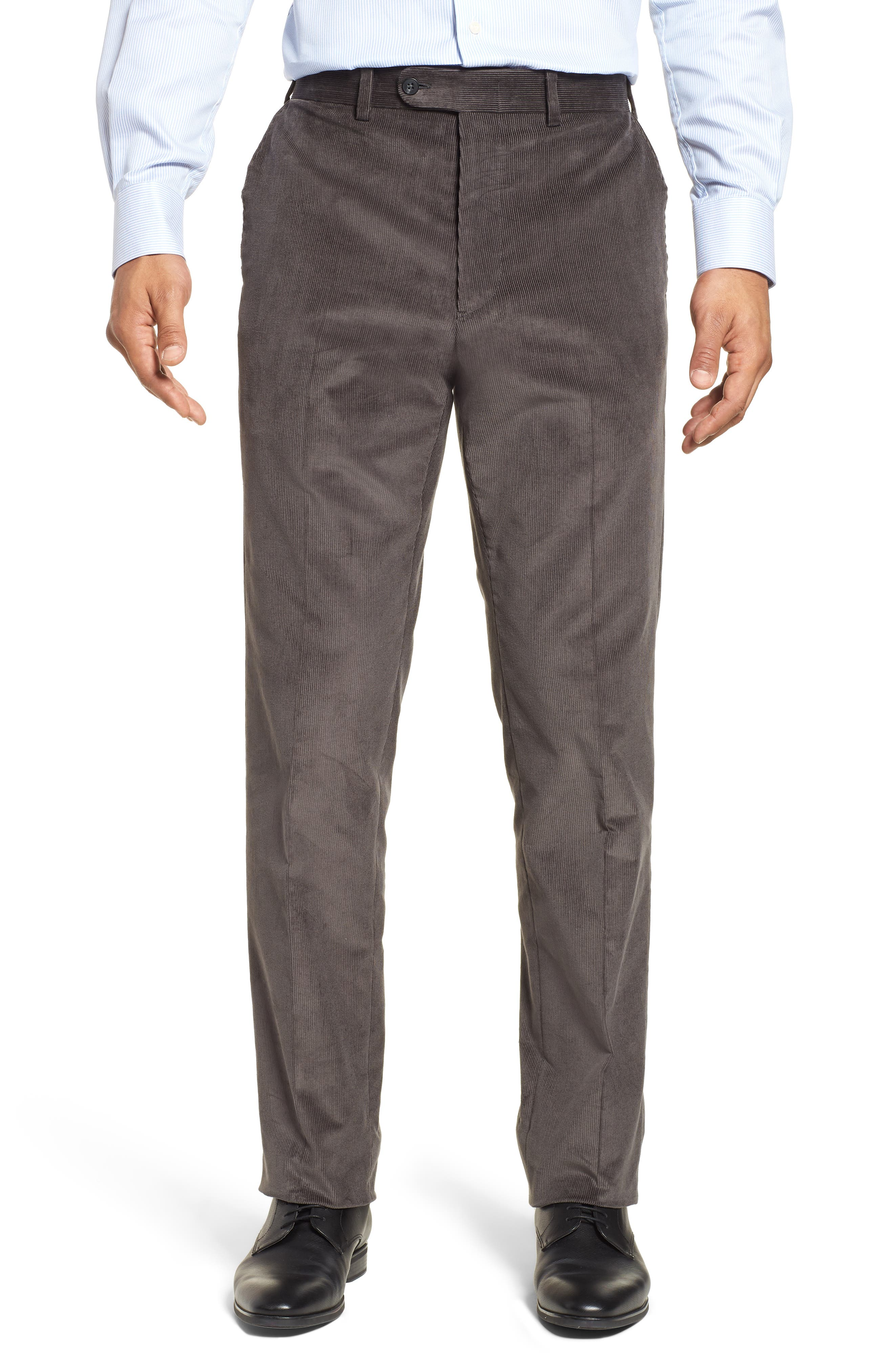 Torino Traditional Fit Flat Front Corduroy Trousers,                         Main,                         color, GREY