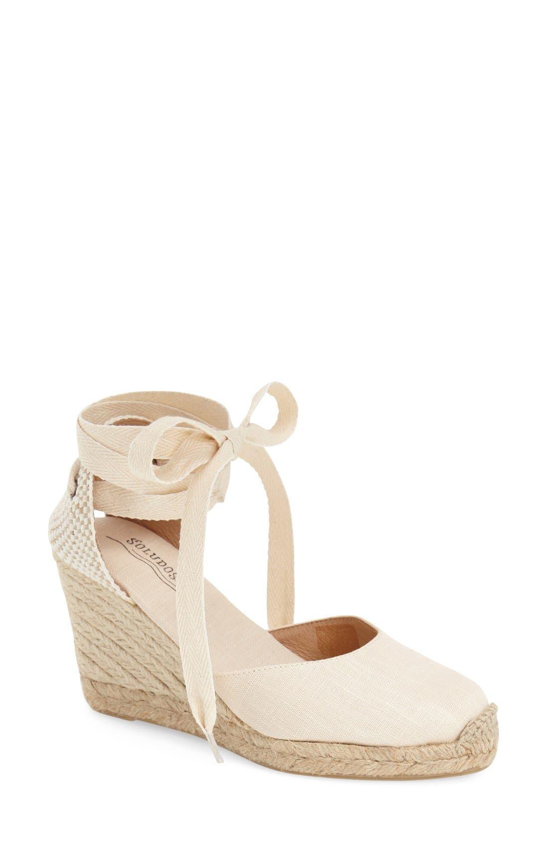 SOLUDOS Wedge Lace-Up Espadrille Sandal, Main, color, BLUSH LINEN