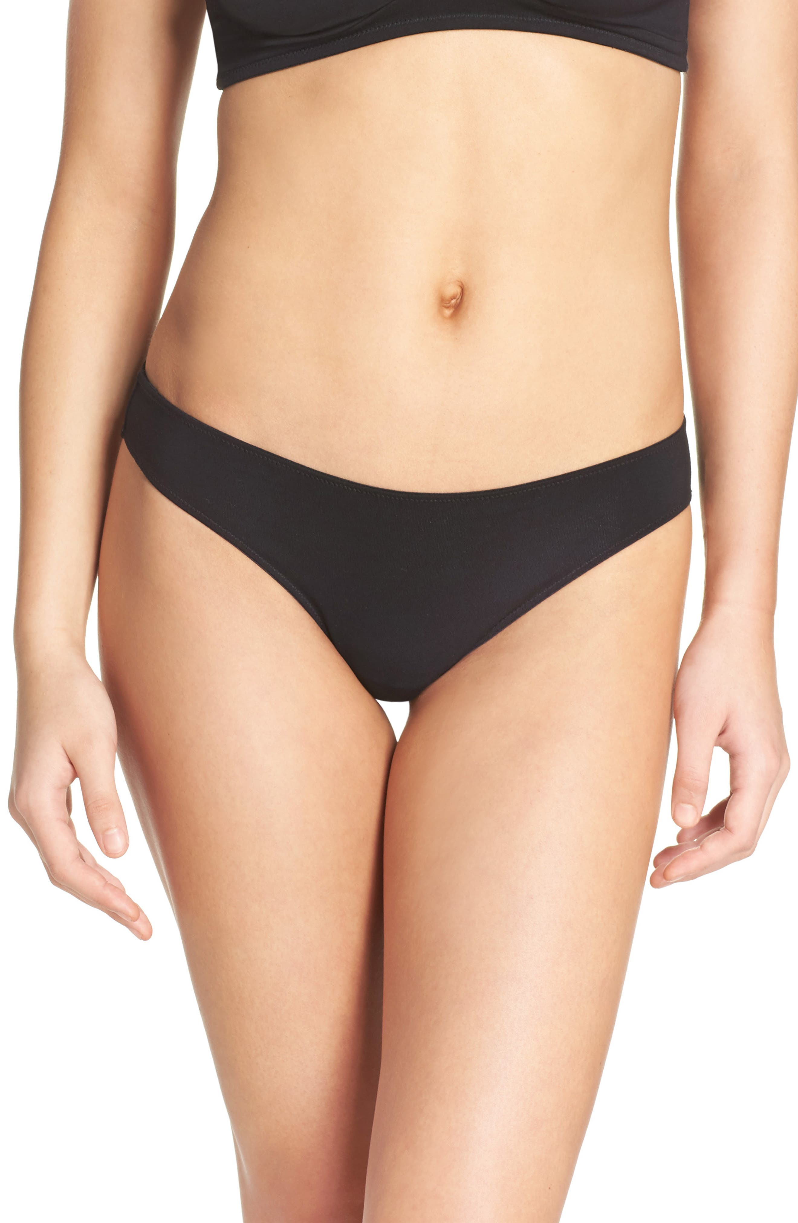 Jersey Thong,                         Main,                         color, TRUE BLACK