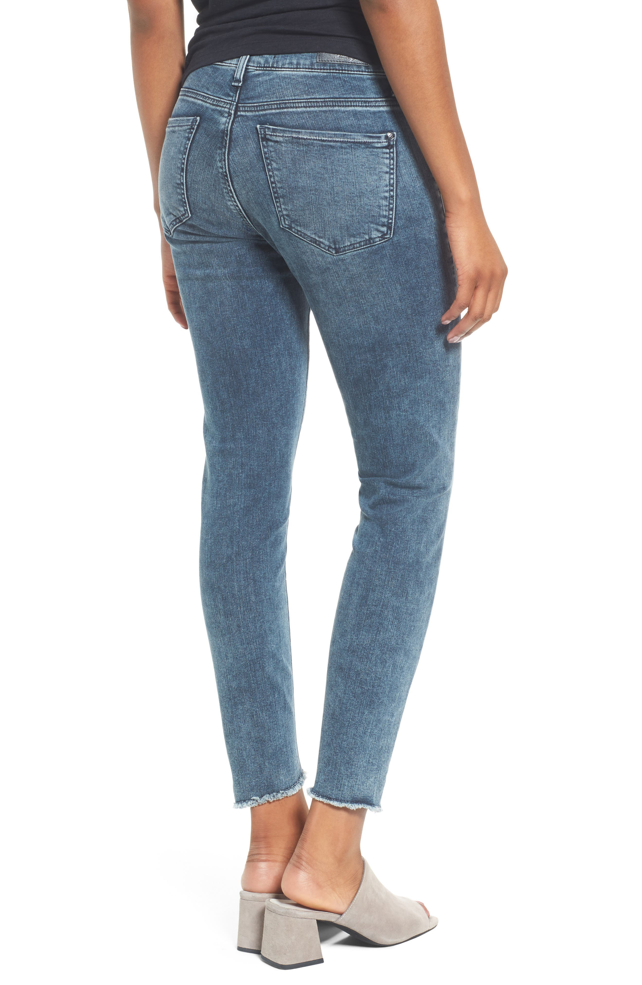 Tess Twisted Step Hem Skinny Jeans,                             Alternate thumbnail 2, color,                             401
