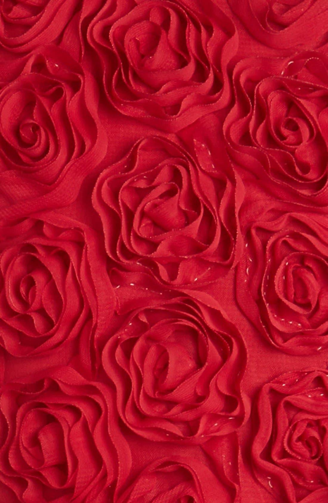 Ribbon Rosette Tulle Dress,                             Alternate thumbnail 3, color,                             BURGUNDY