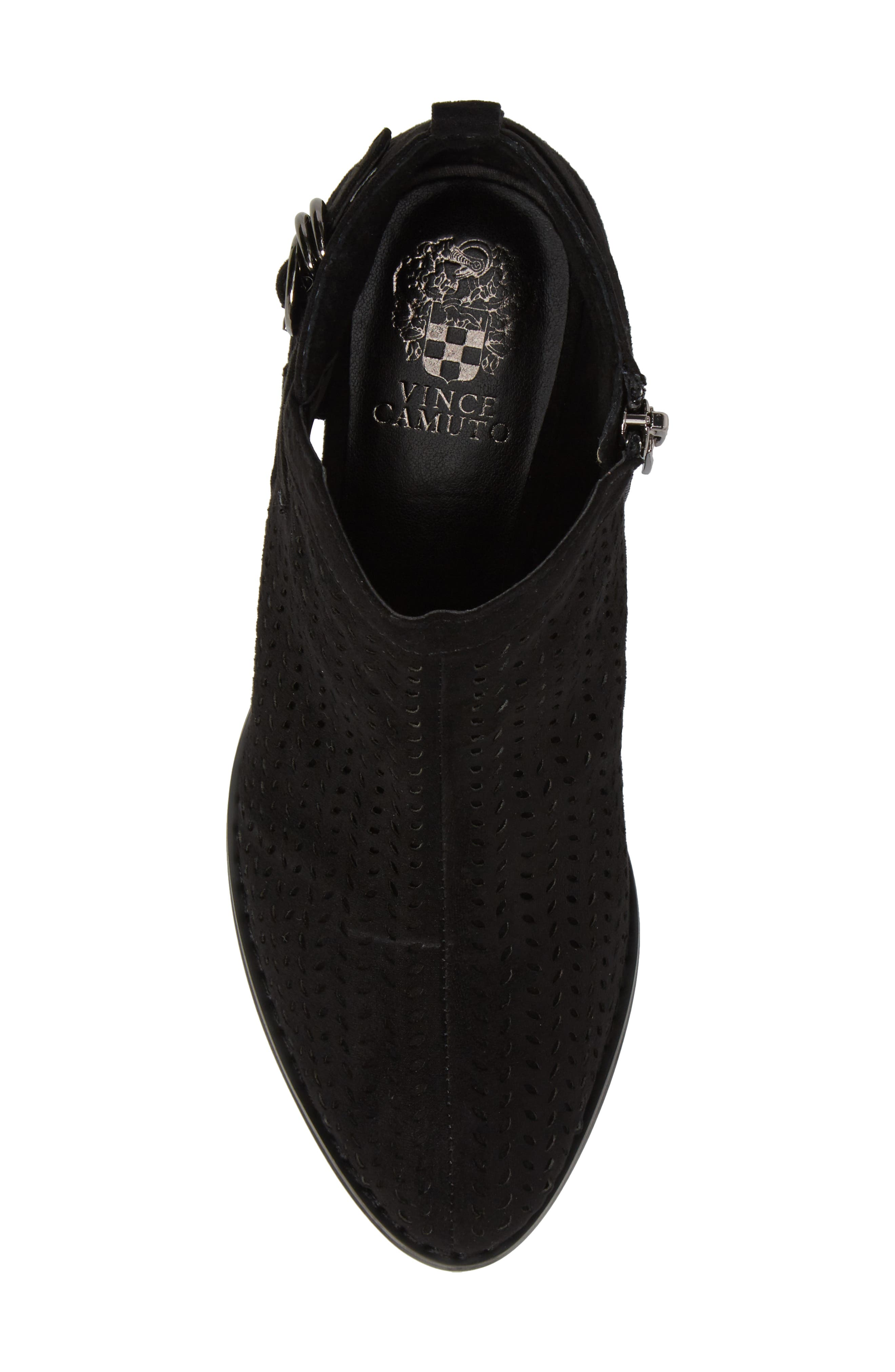 Campina Perforated Bootie,                             Alternate thumbnail 5, color,                             BLACK SUEDE