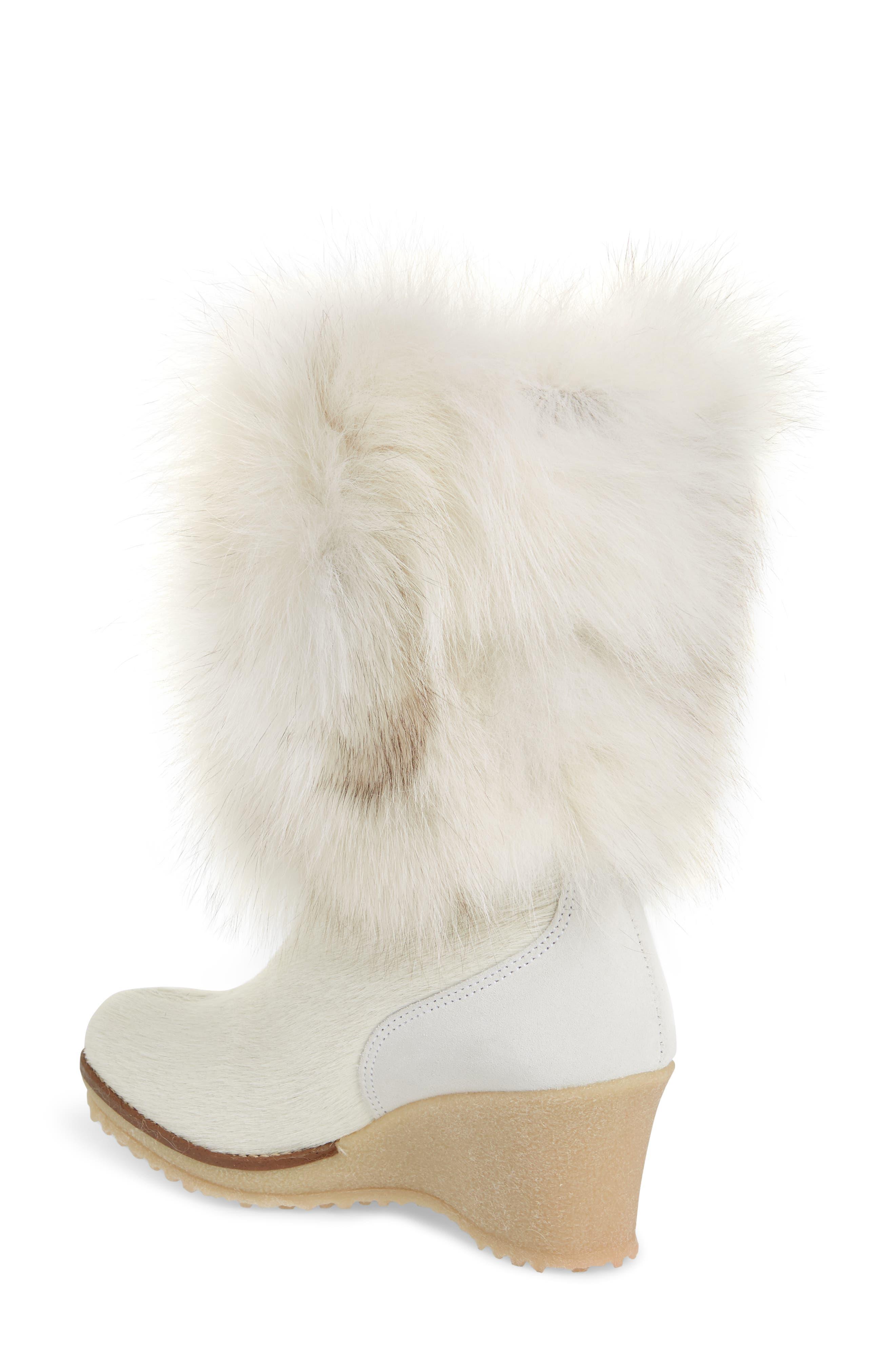 Angelina Genuine Fox Fur Wedge Boot,                             Alternate thumbnail 6, color,