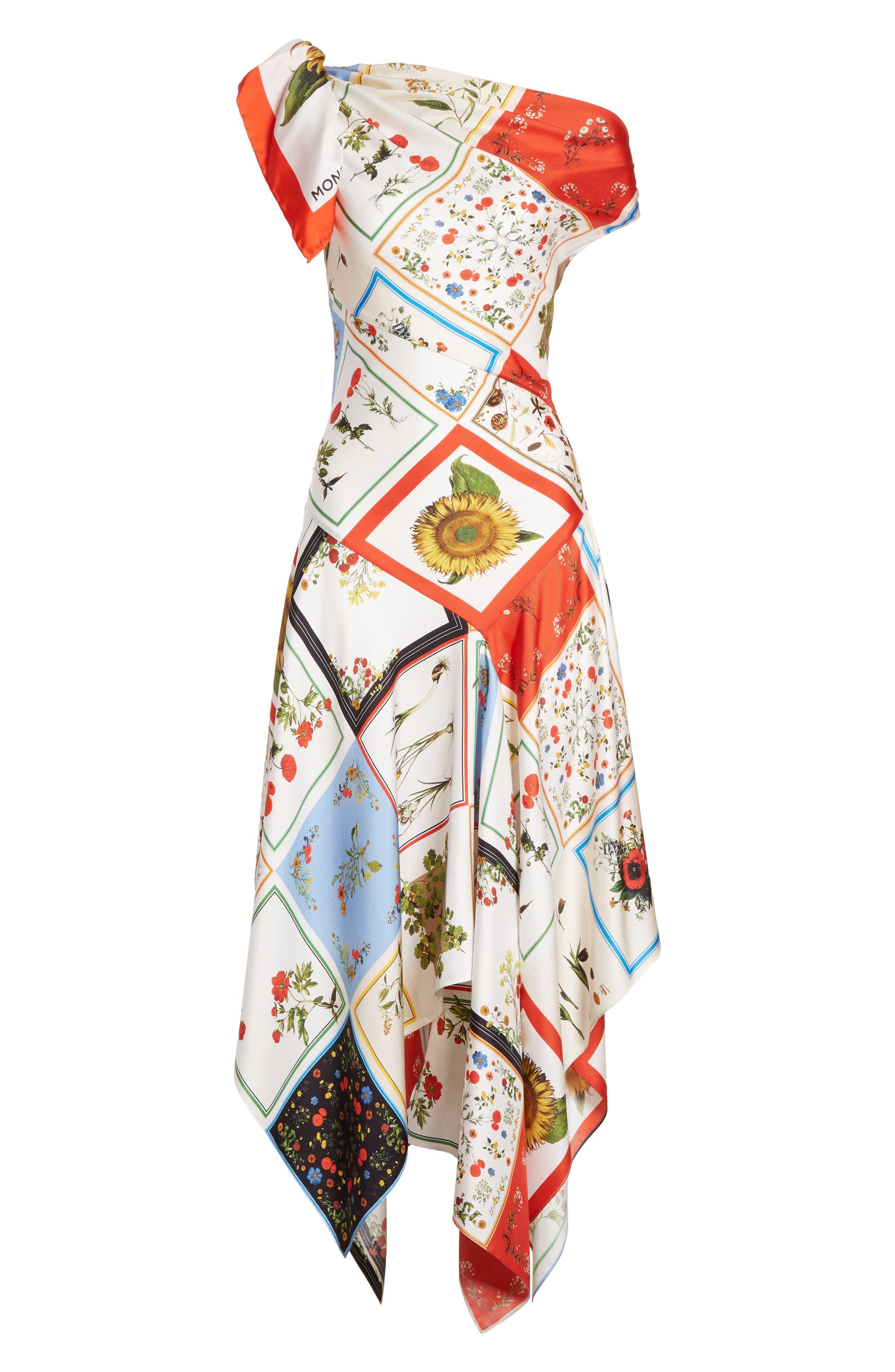 Patchwork Silk One-Shoulder Dress,                             Alternate thumbnail 6, color,                             908