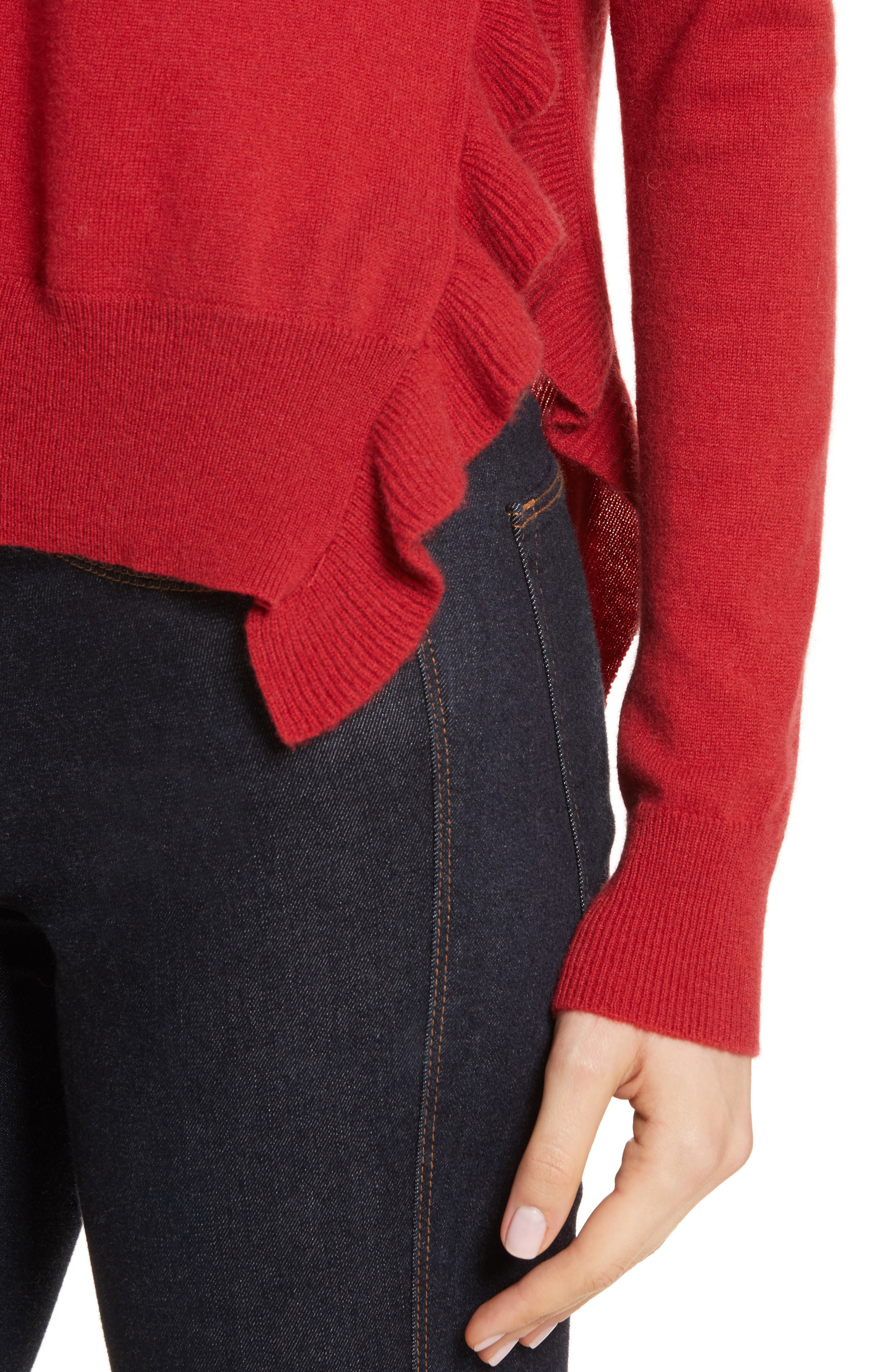 Cashmere Side Ruffle Sweater,                             Alternate thumbnail 4, color,                             404