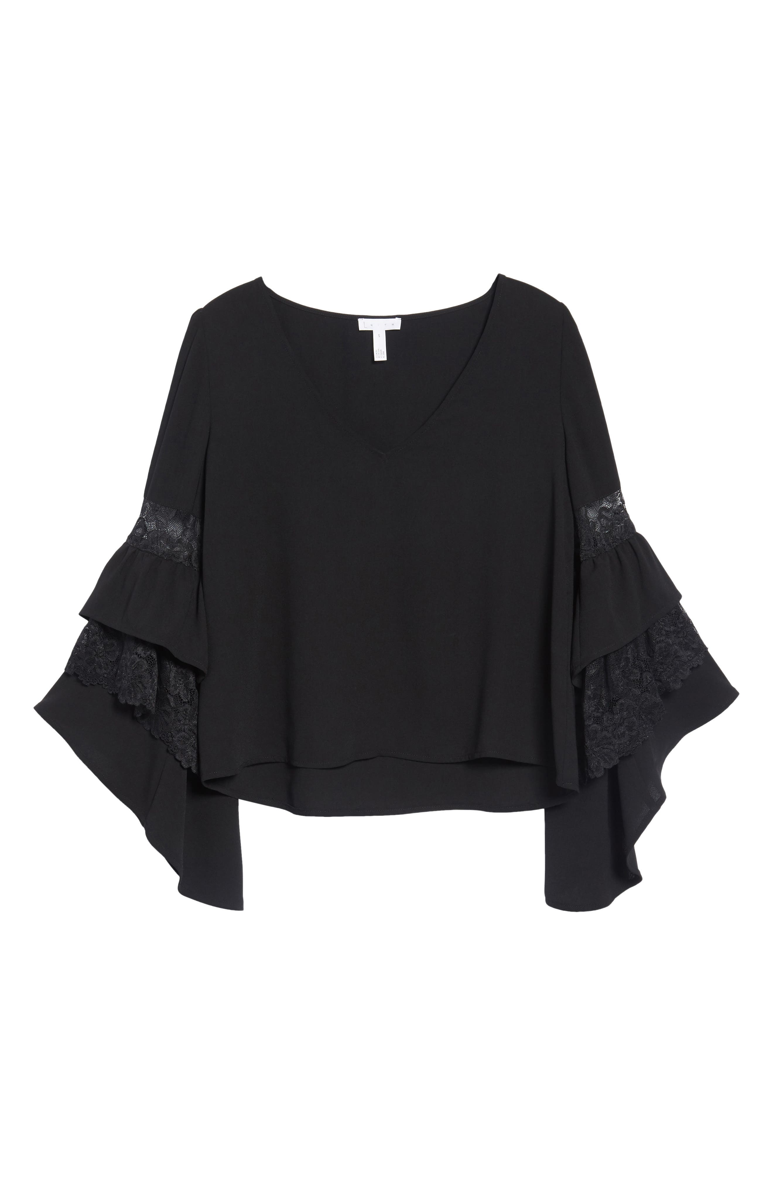 Ruffle Bell Sleeve Top,                             Alternate thumbnail 11, color,