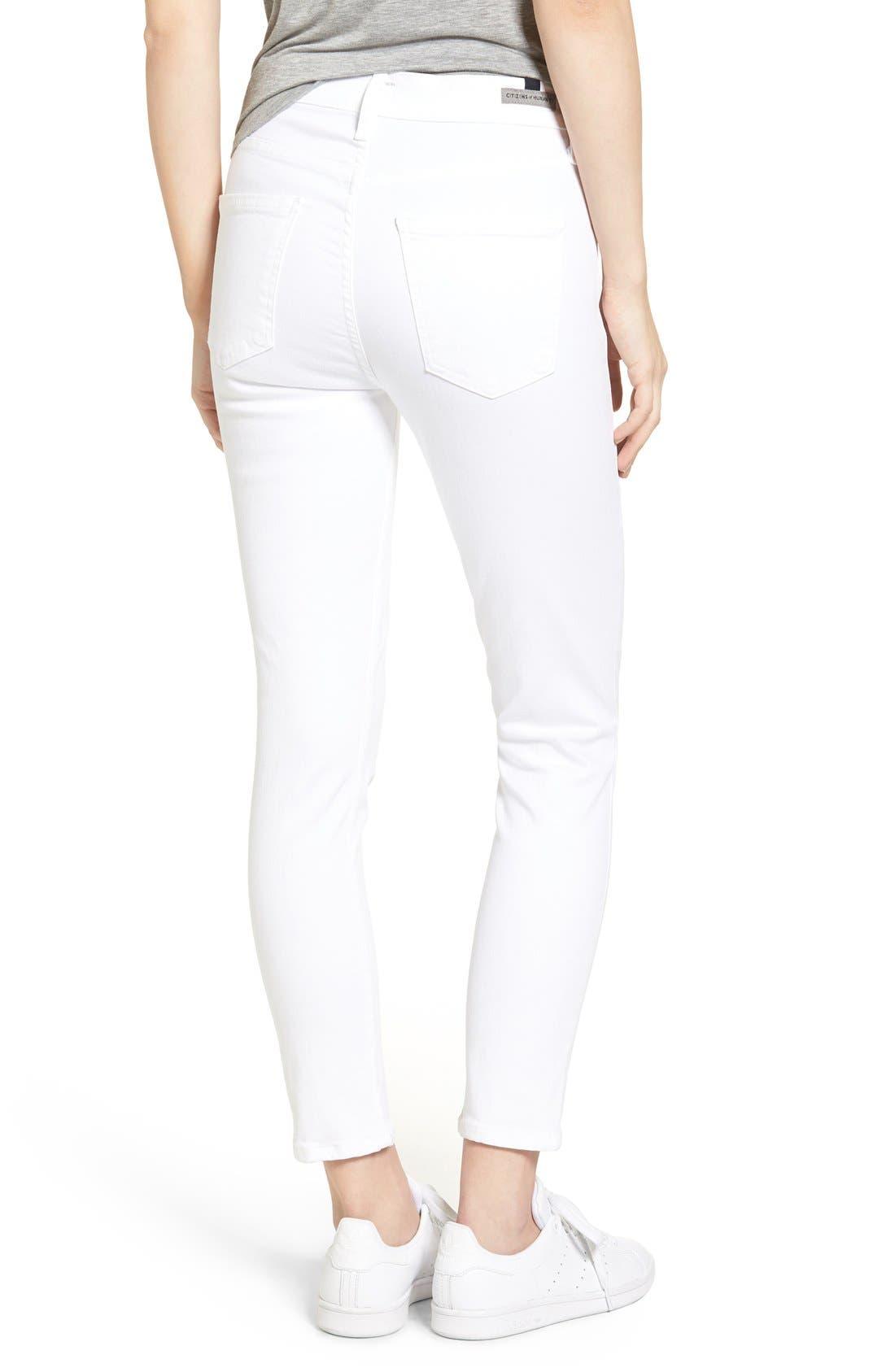 Rocket High Waist Crop Skinny Jeans,                             Alternate thumbnail 4, color,                             SCULPT WHITE