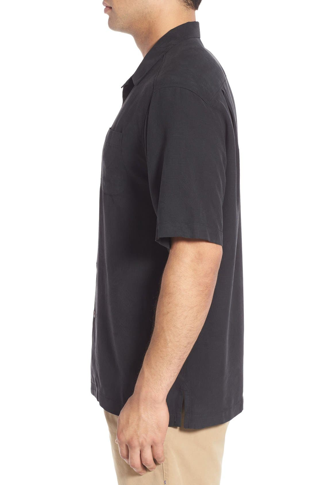 Rio Fronds Short Sleeve Silk Sport Shirt,                             Alternate thumbnail 3, color,                             001