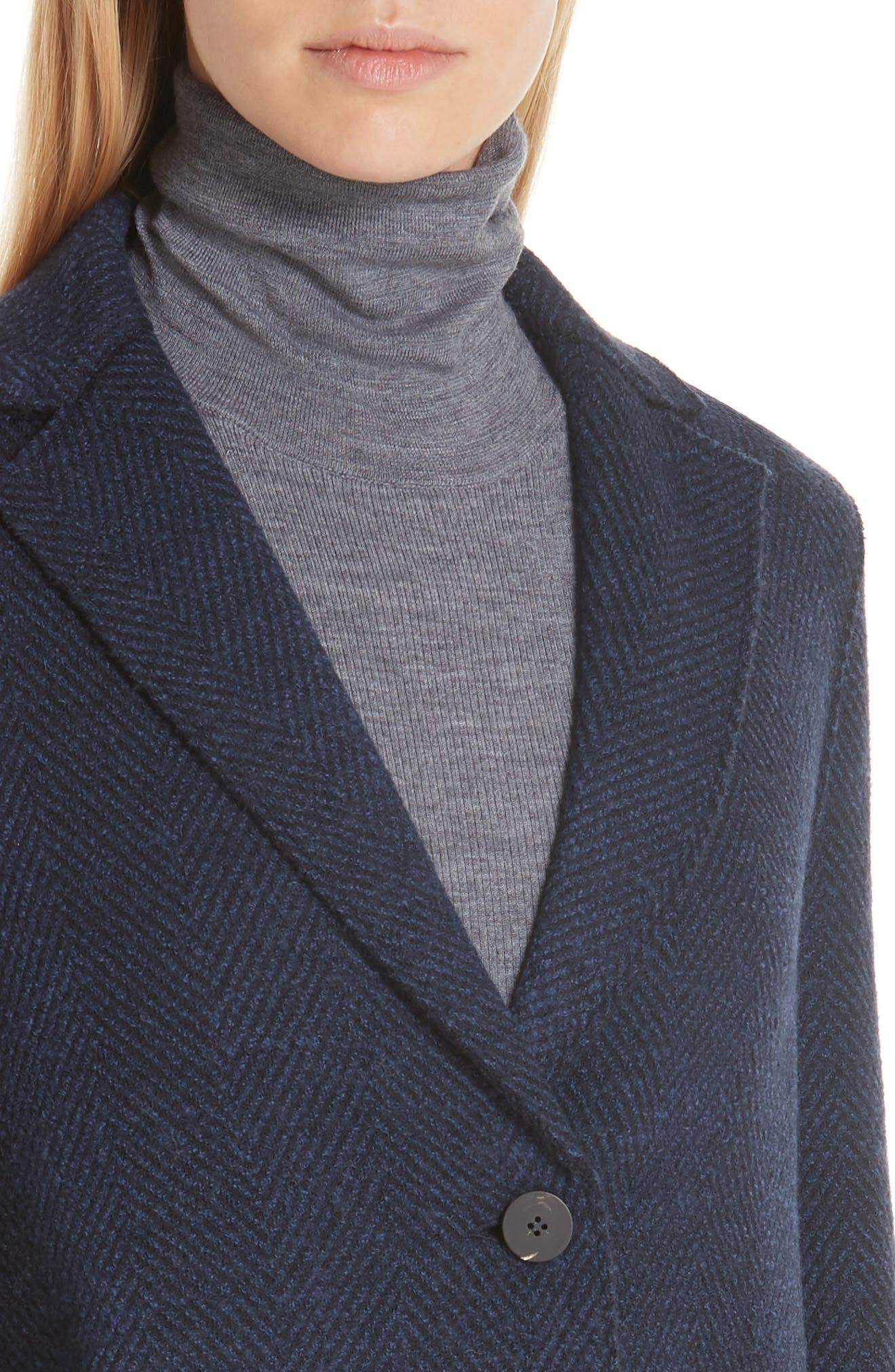 Herringbone Wool Coat,                             Alternate thumbnail 4, color,                             NAVY BLUE