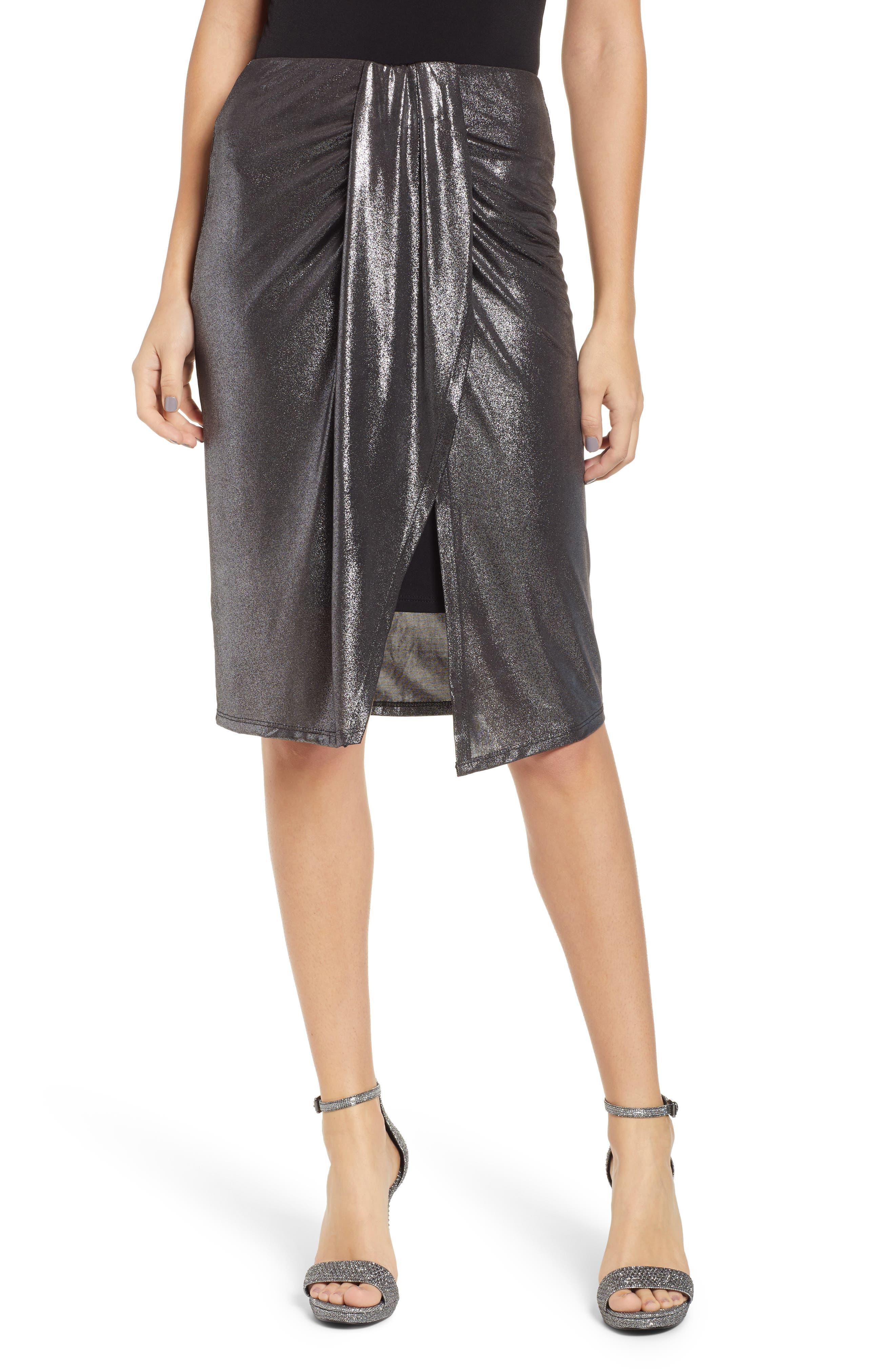 Leith Knot Front Metallic Midi Skirt, Metallic