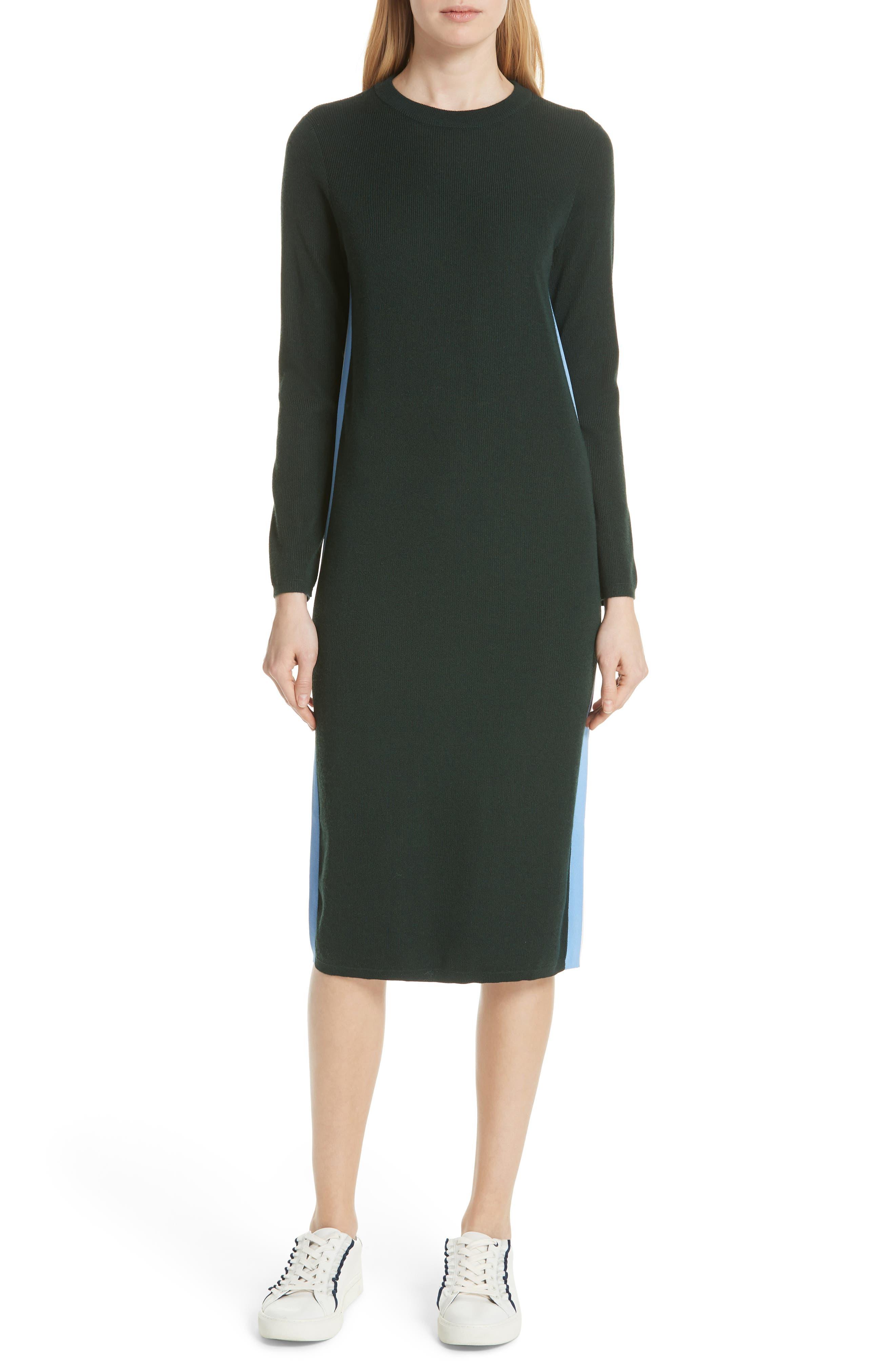 TORY SPORT Double Stripe Cashmere Blend Sweater Dress in Conifer