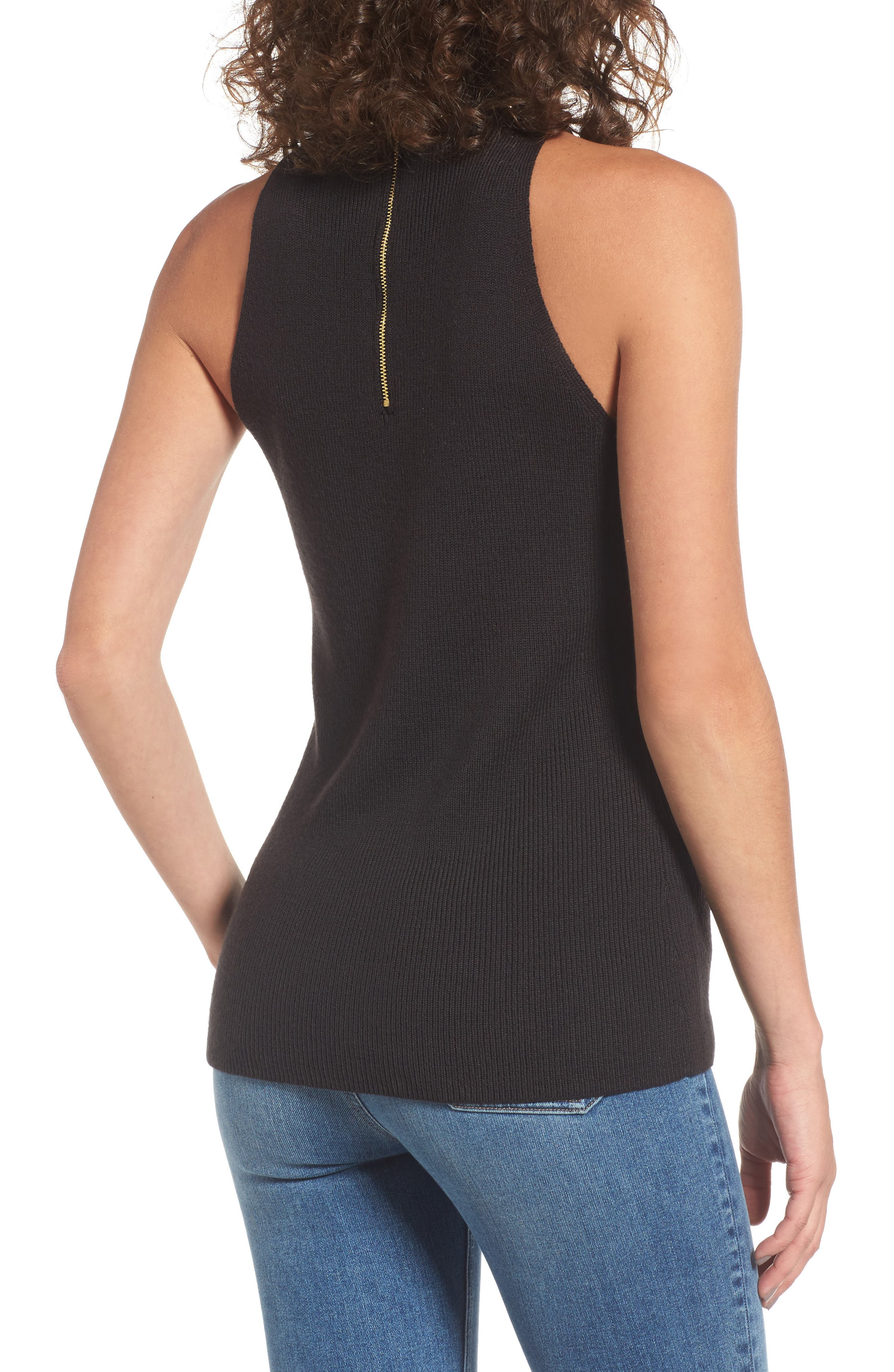 Dome Stud Mock Neck Top,                             Alternate thumbnail 3, color,