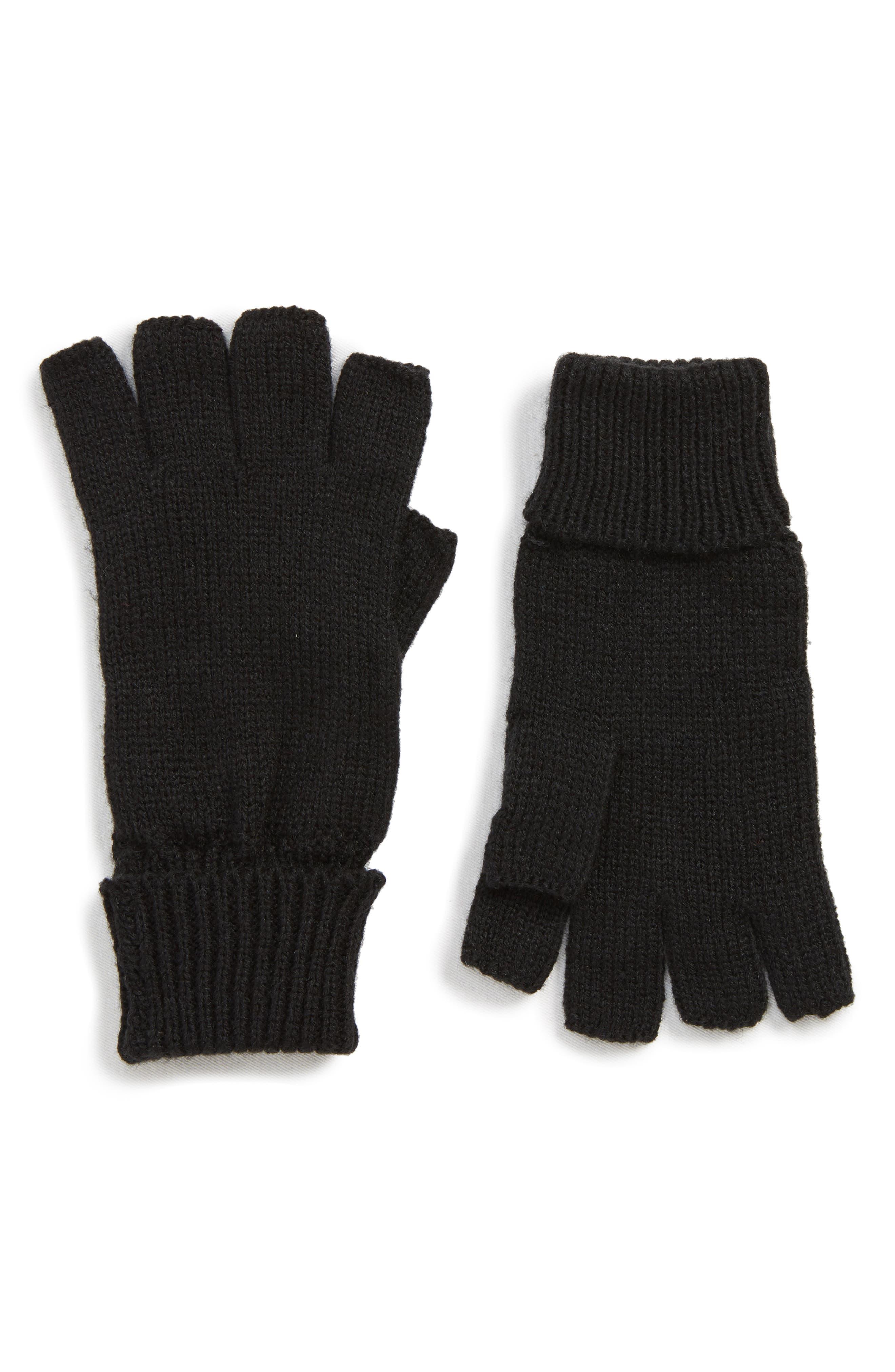 Basic Fingerless Gloves,                             Main thumbnail 1, color,                             BLACK