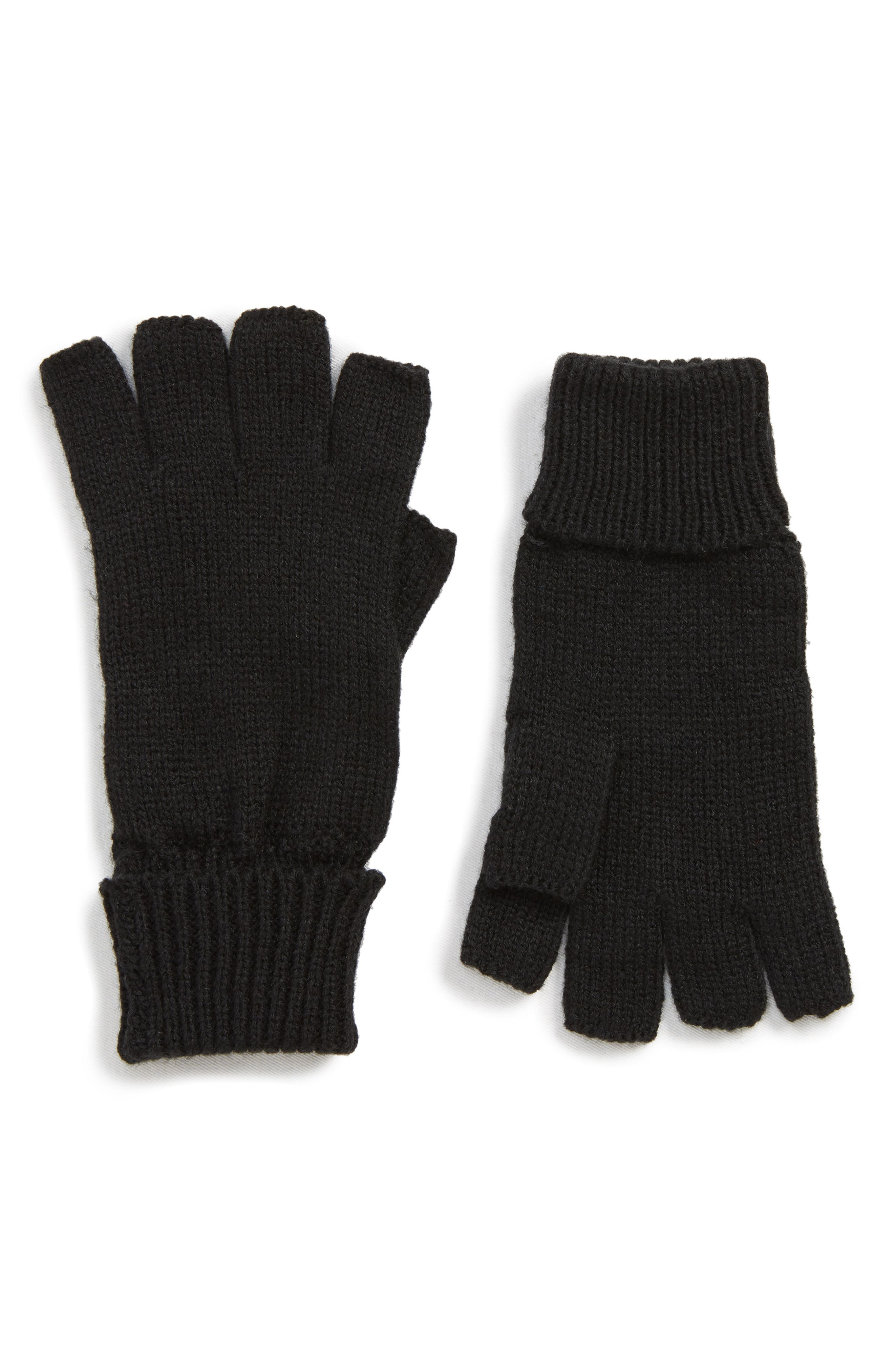 Basic Fingerless Gloves,                         Main,                         color, BLACK