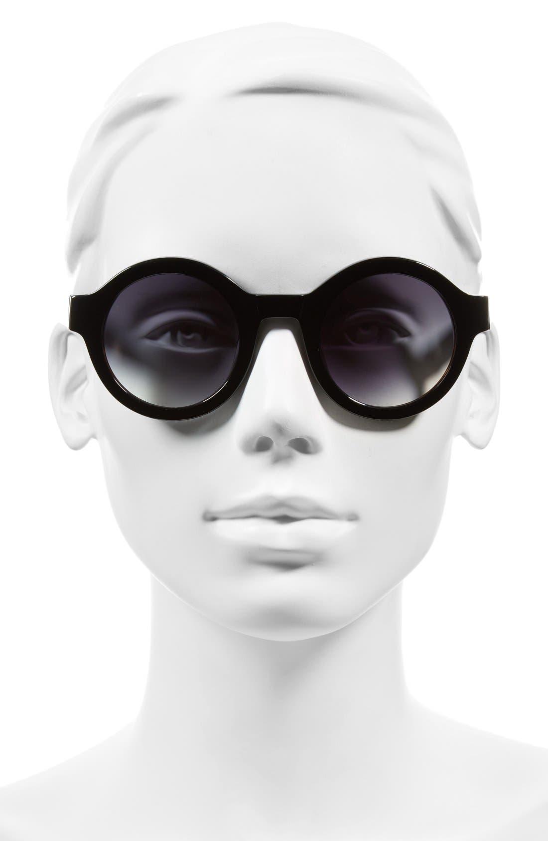 'Luna' 47mm Round Sunglasses,                             Alternate thumbnail 2, color,                             001