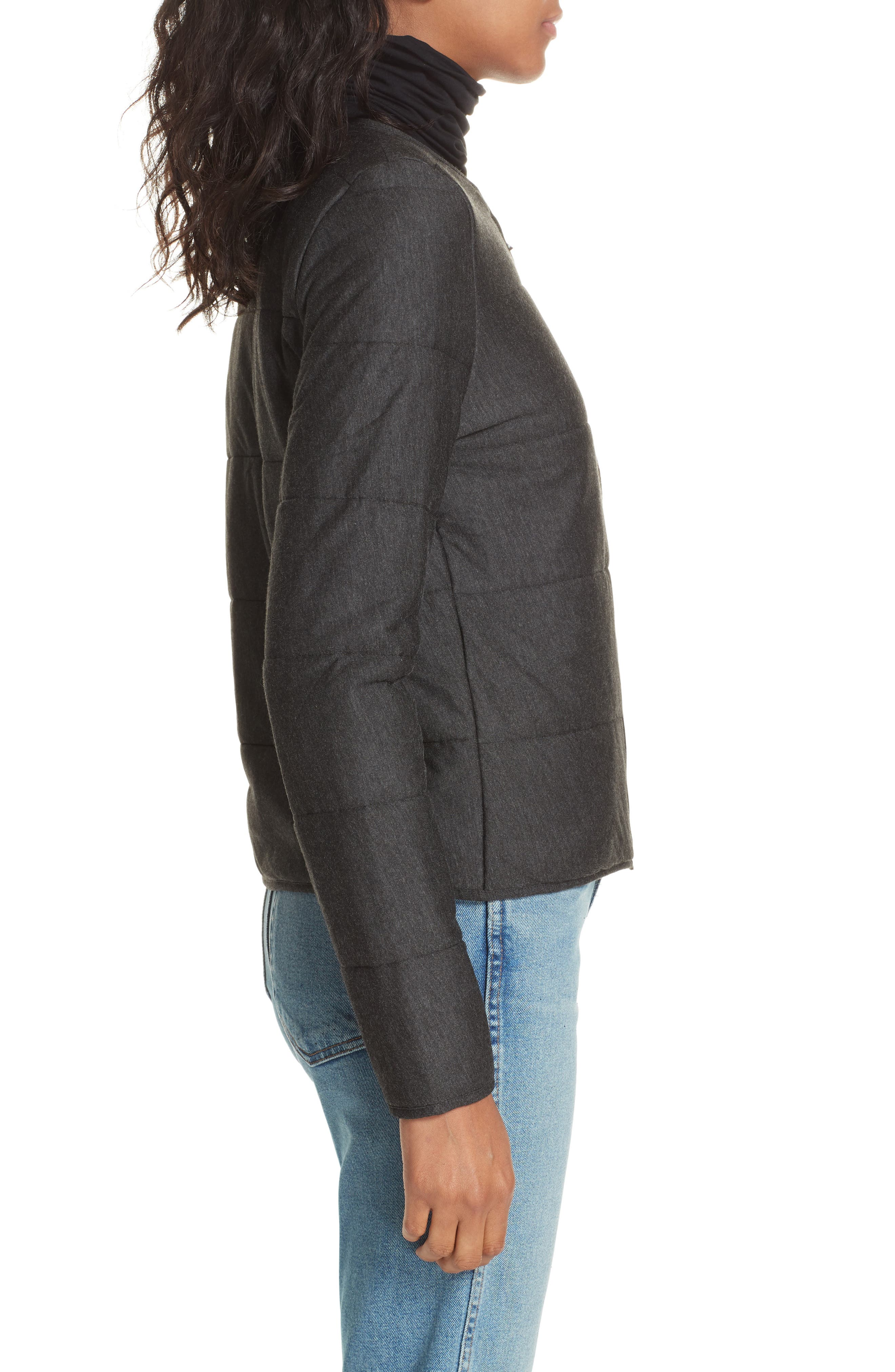 Quilted Bolero Jacket,                             Alternate thumbnail 3, color,                             ANTHRACITE