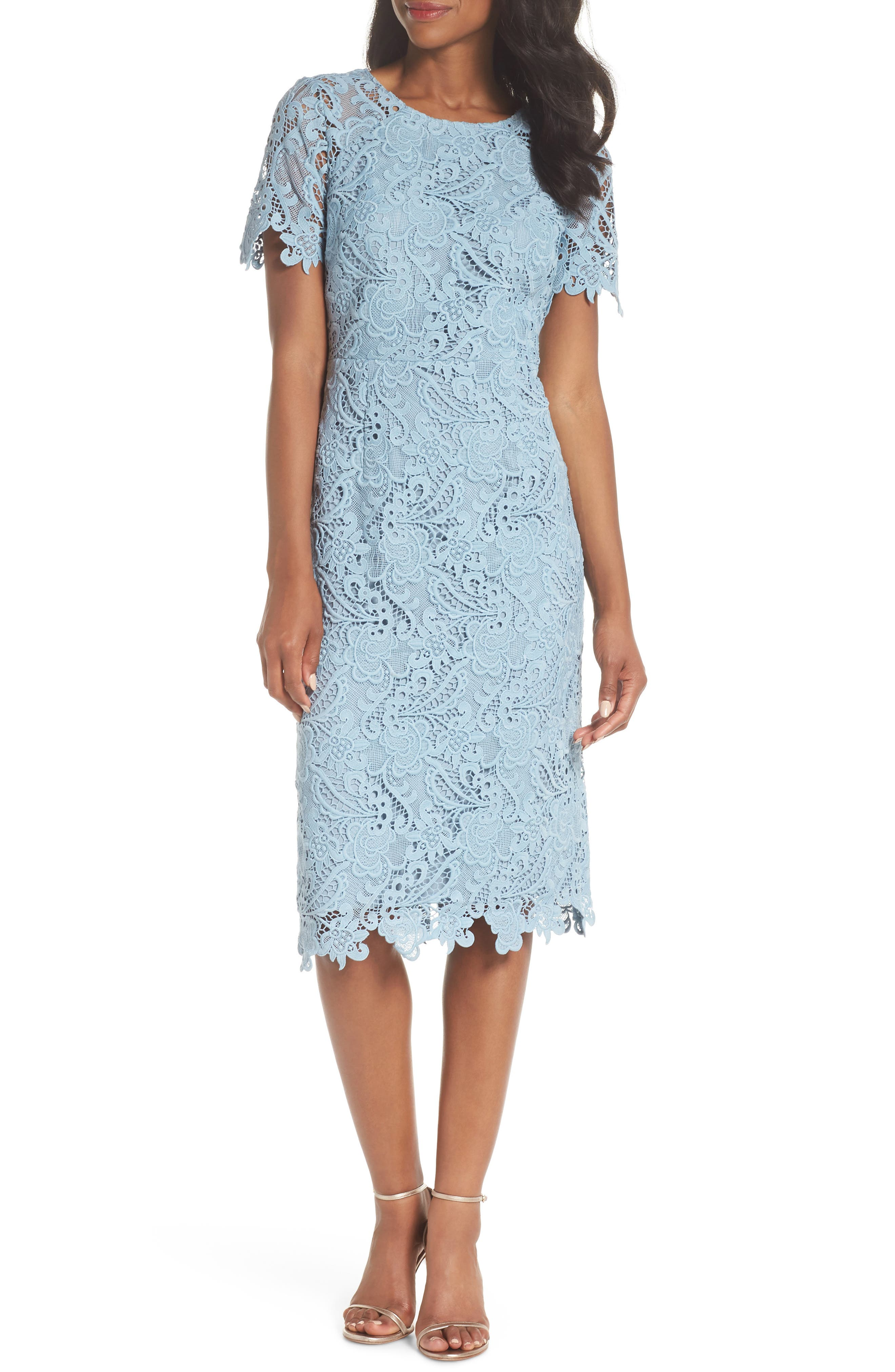 Lace Sheath Dress,                             Main thumbnail 1, color,                             BLUE