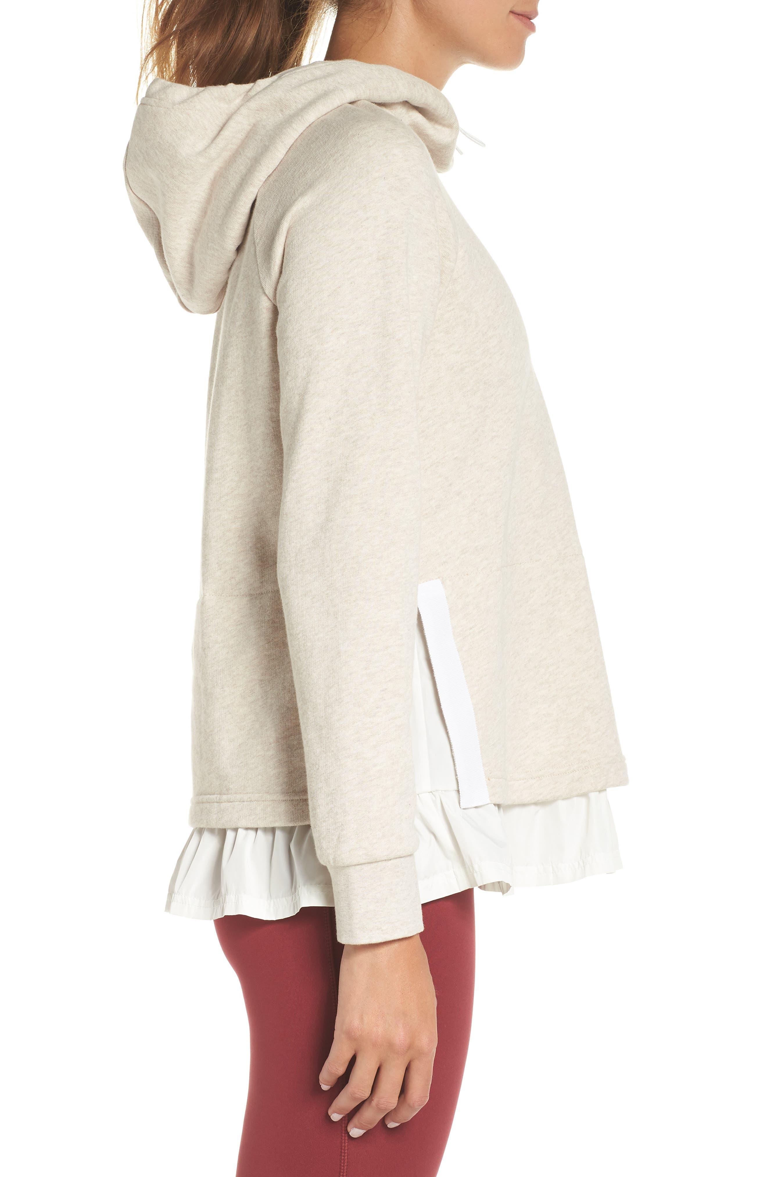 ruffle hoodie,                             Alternate thumbnail 3, color,                             OATMEAL MELANGE