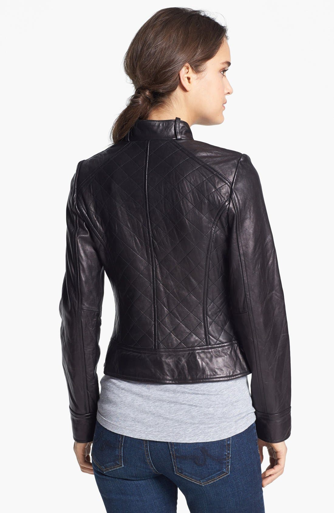 Shoulder Trim Quilted Leather Jacket,                             Alternate thumbnail 2, color,                             001