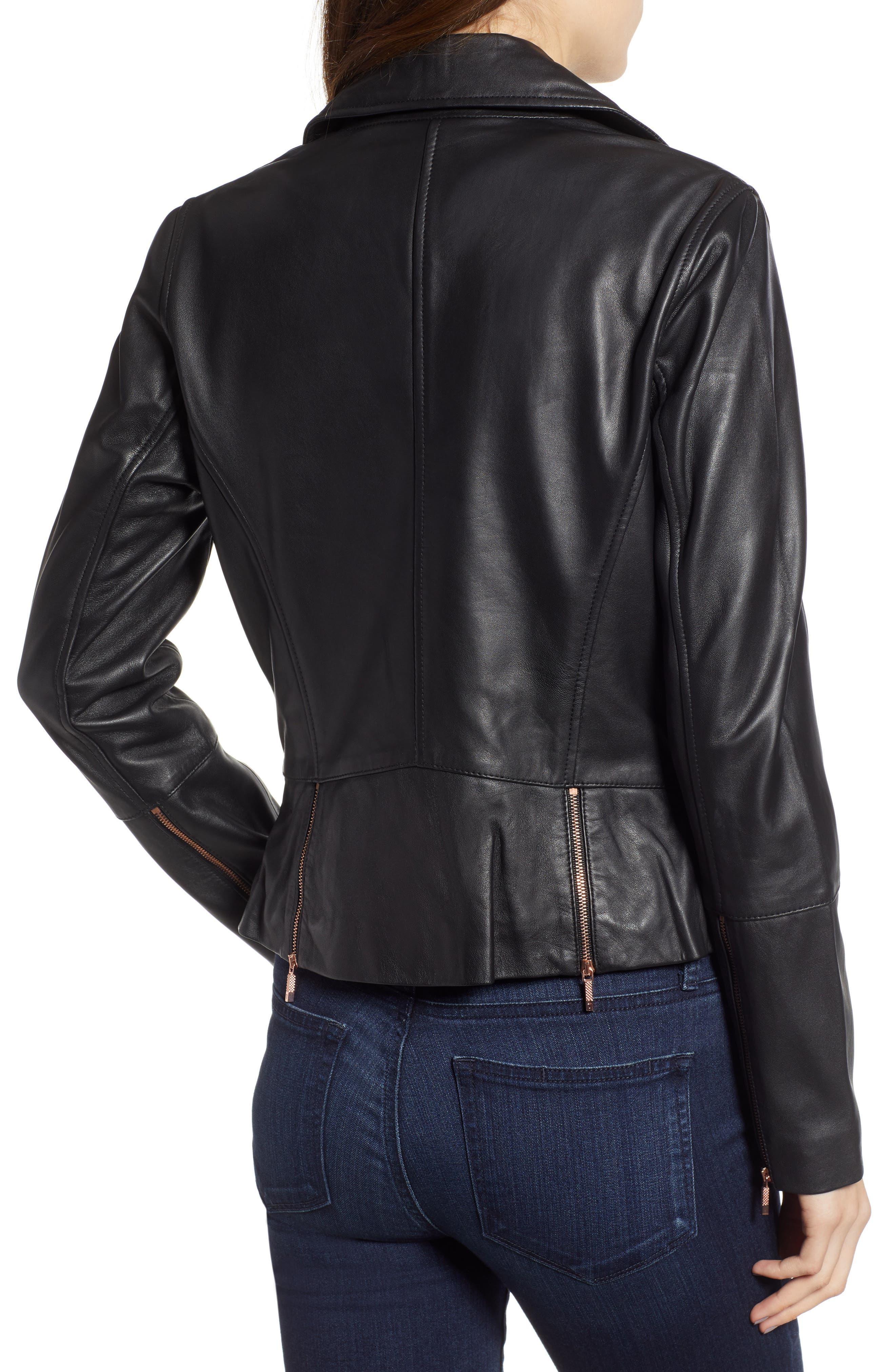 Lizia Minimal Biker Jacket,                             Alternate thumbnail 2, color,                             BLACK