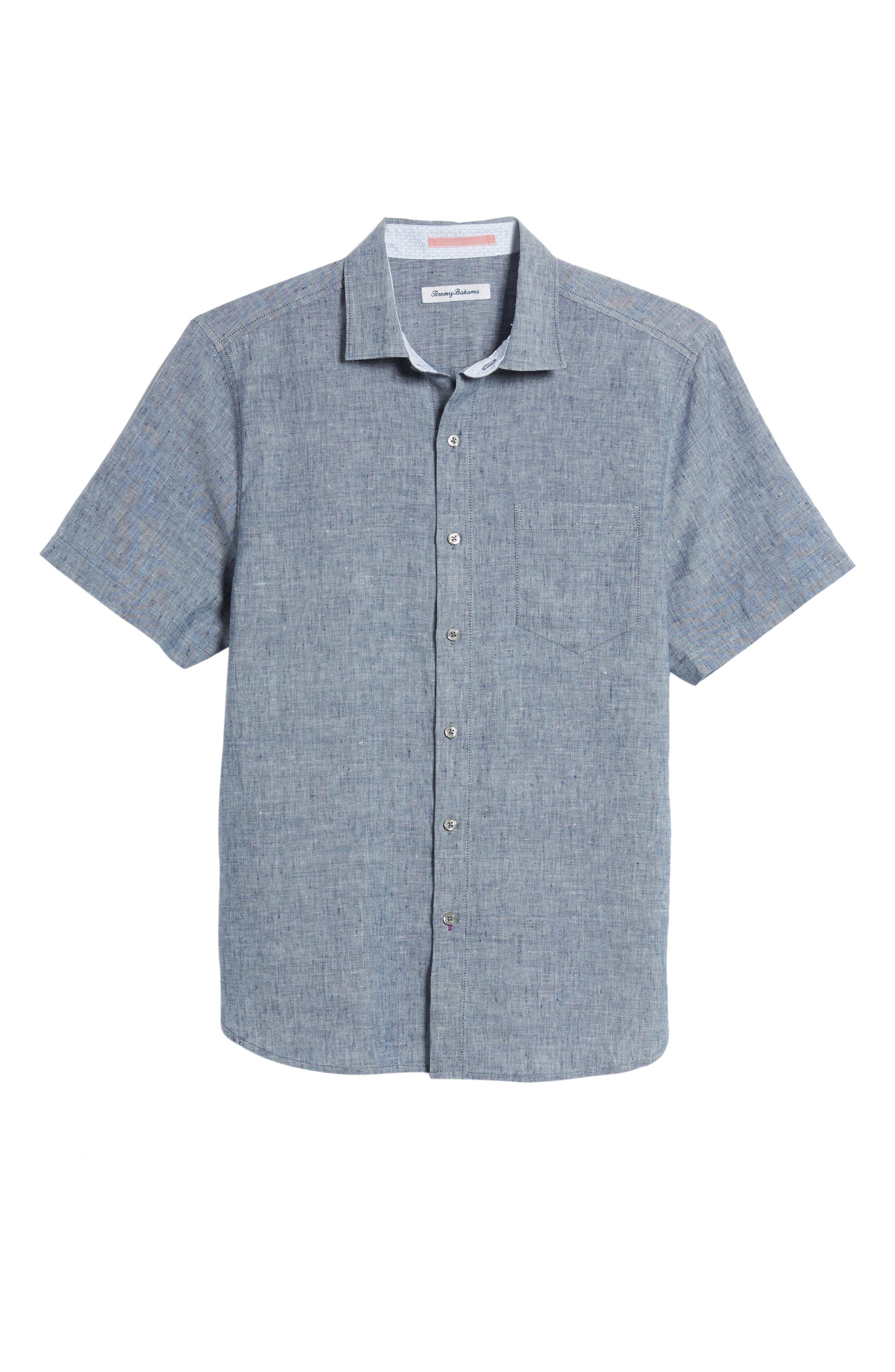 Lanai Tides Linen Blend Sport Shirt,                             Alternate thumbnail 6, color,                             THRONE BLUE