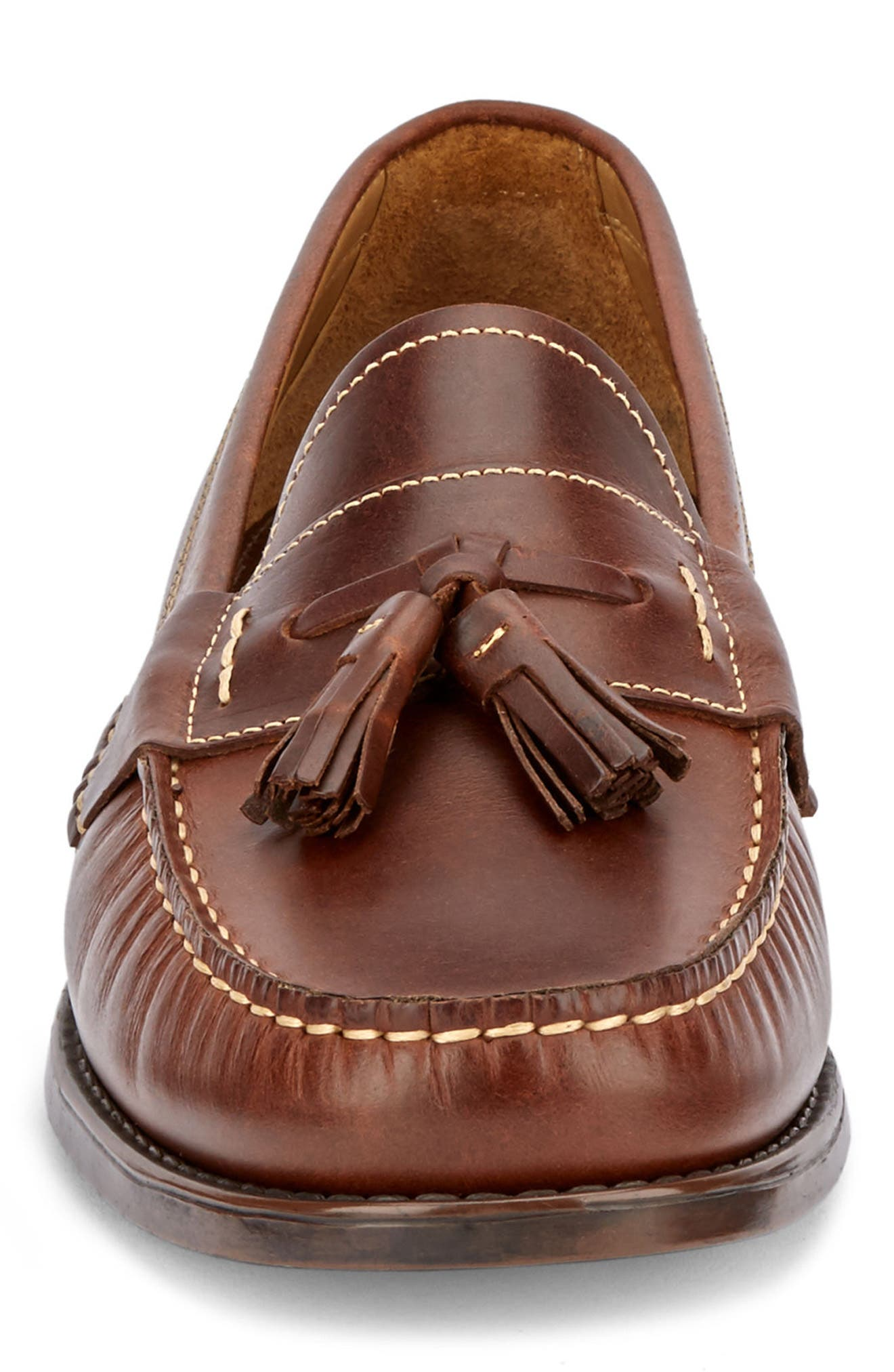 Wallace Tassel Loafer,                             Alternate thumbnail 4, color,                             DARK BROWN LEATHER