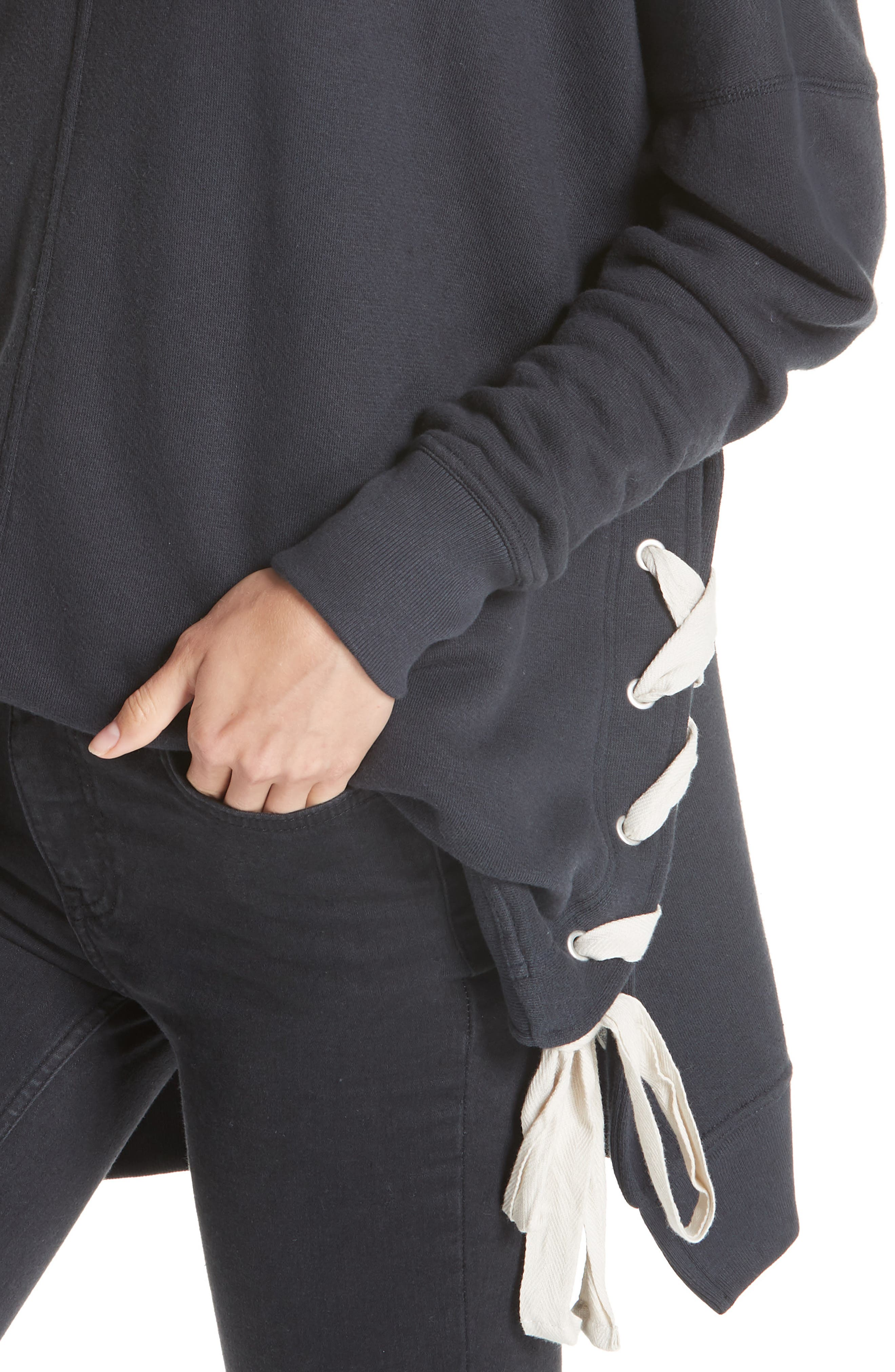 So Plush Lace-Up Pullover,                             Alternate thumbnail 4, color,                             001