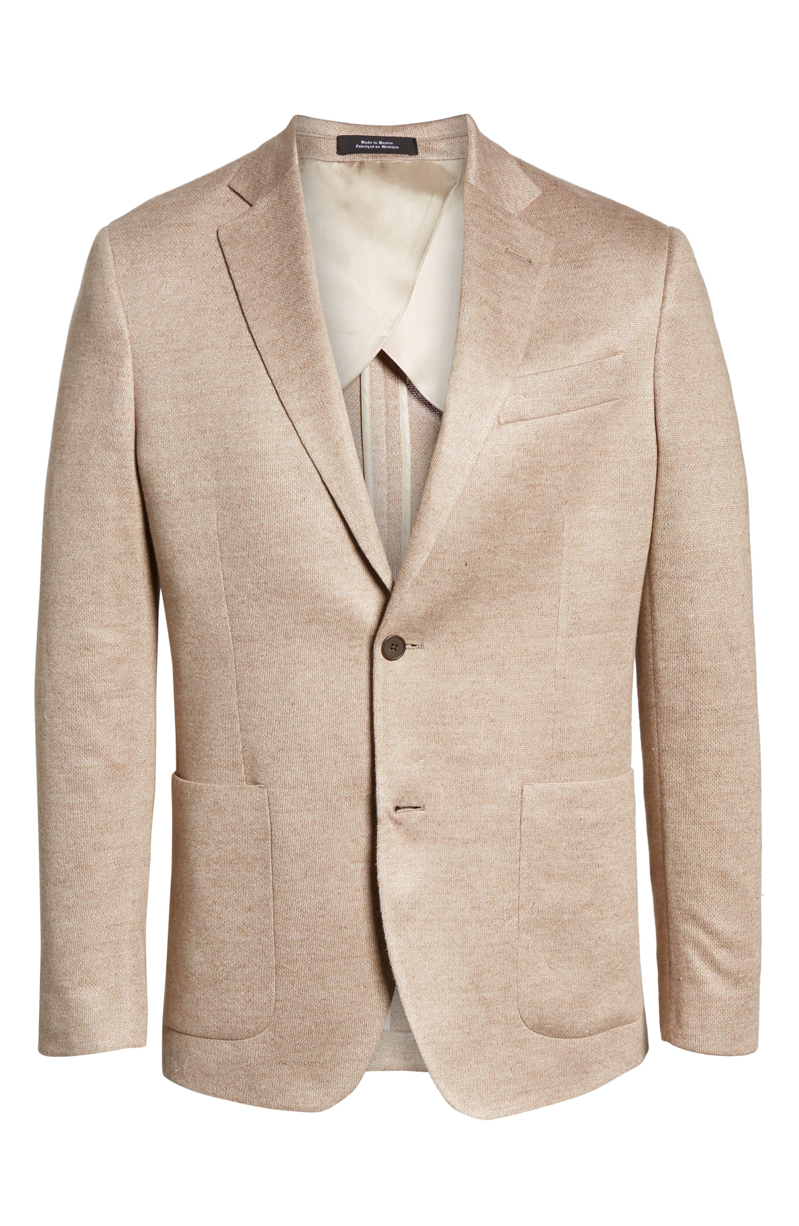 Trim Fit Linen Sport Coat,                             Alternate thumbnail 5, color,                             OATMEAL