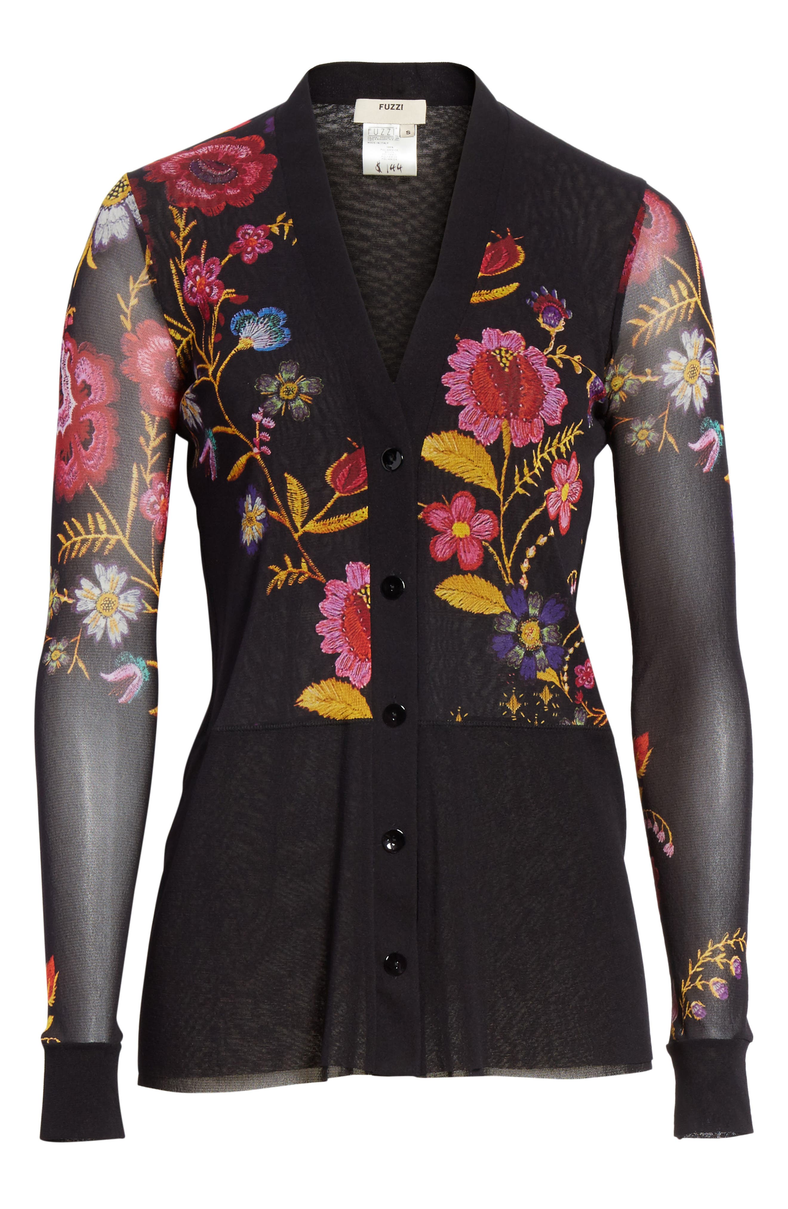 Folk Floral Button Cardigan,                             Alternate thumbnail 6, color,                             001
