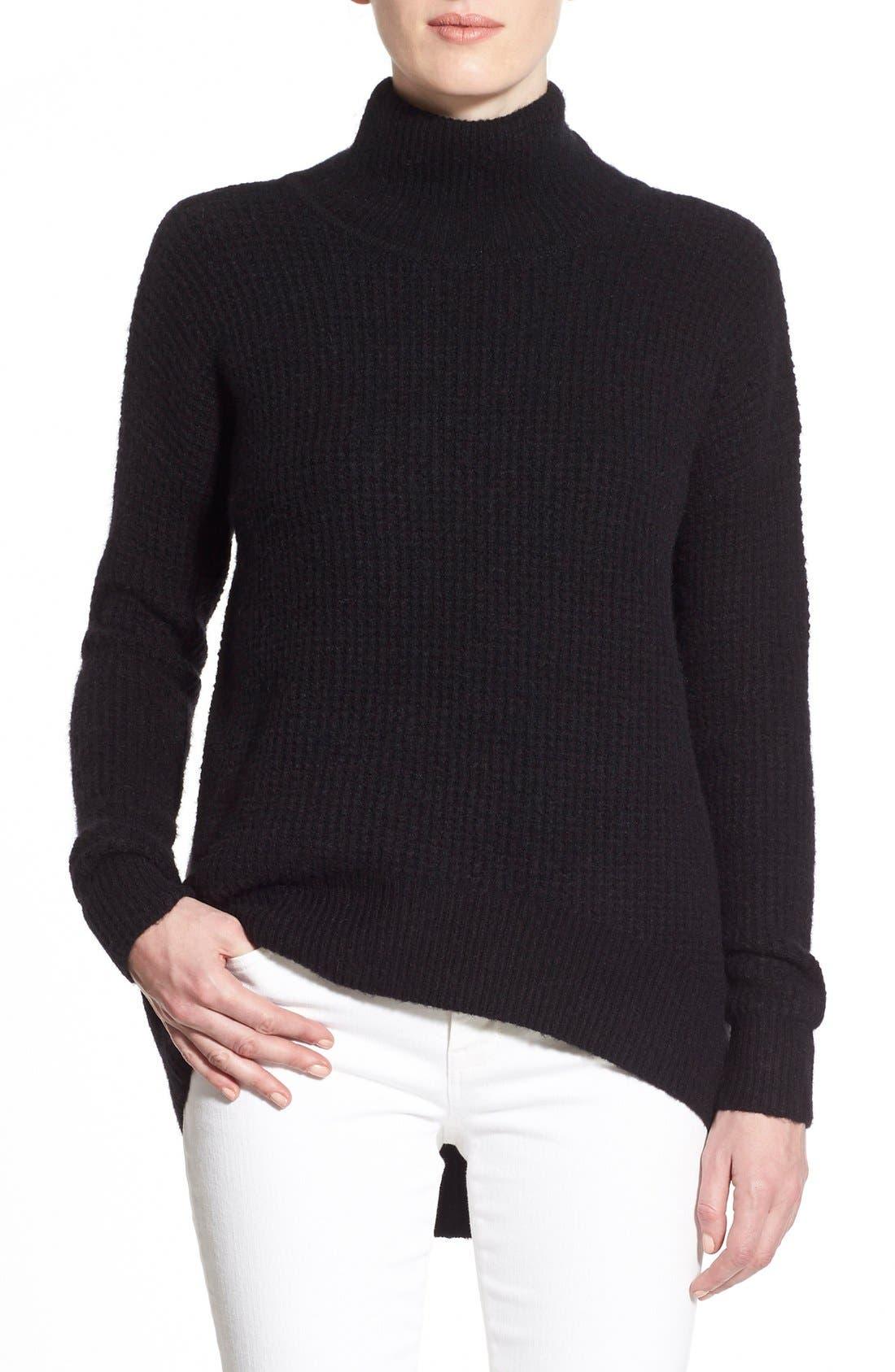 Wafflestitch Turtleneck Sweater,                             Main thumbnail 1, color,                             001