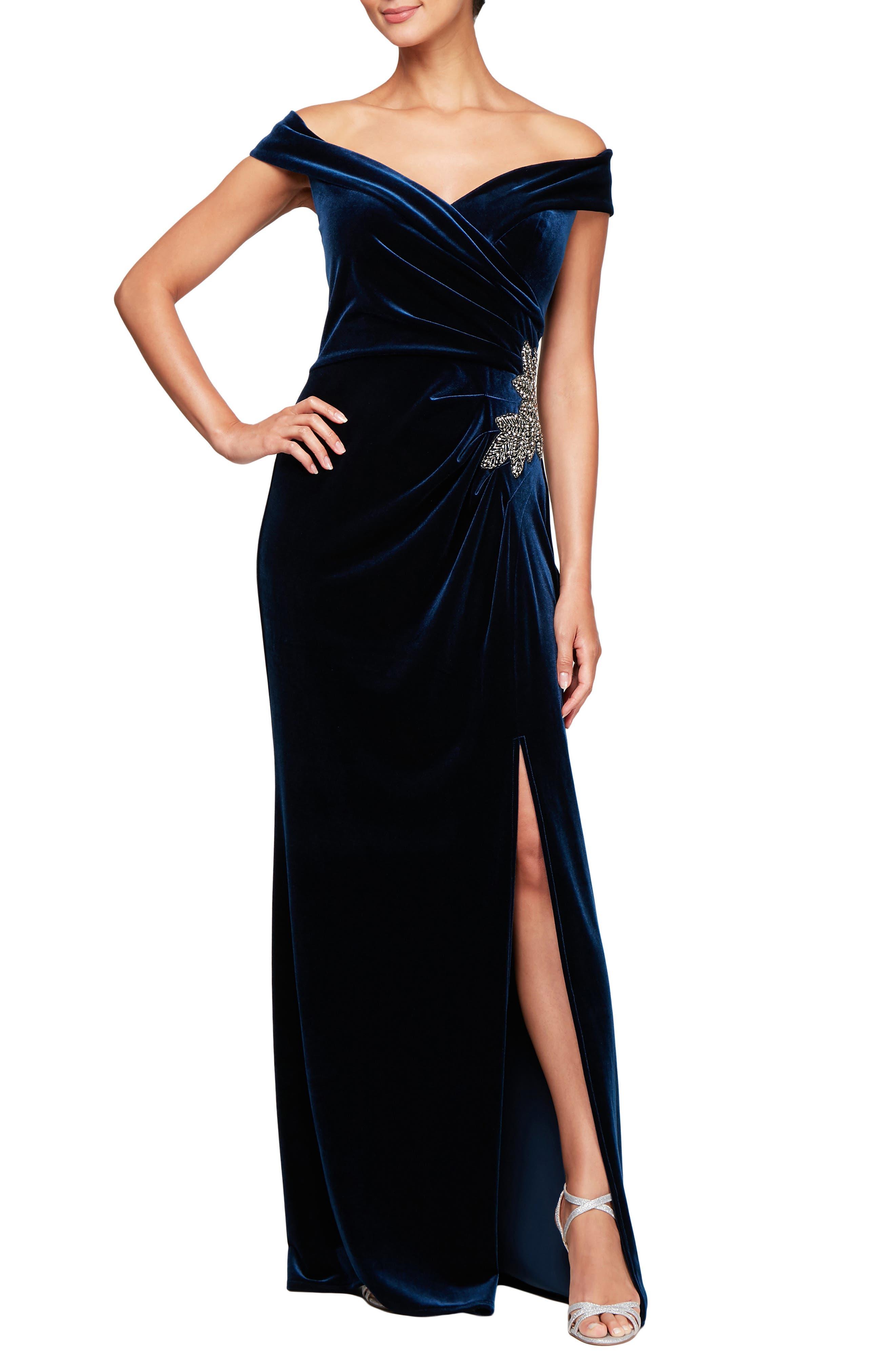 Off Shoulder Velvet Gown,                         Main,                         color, 401