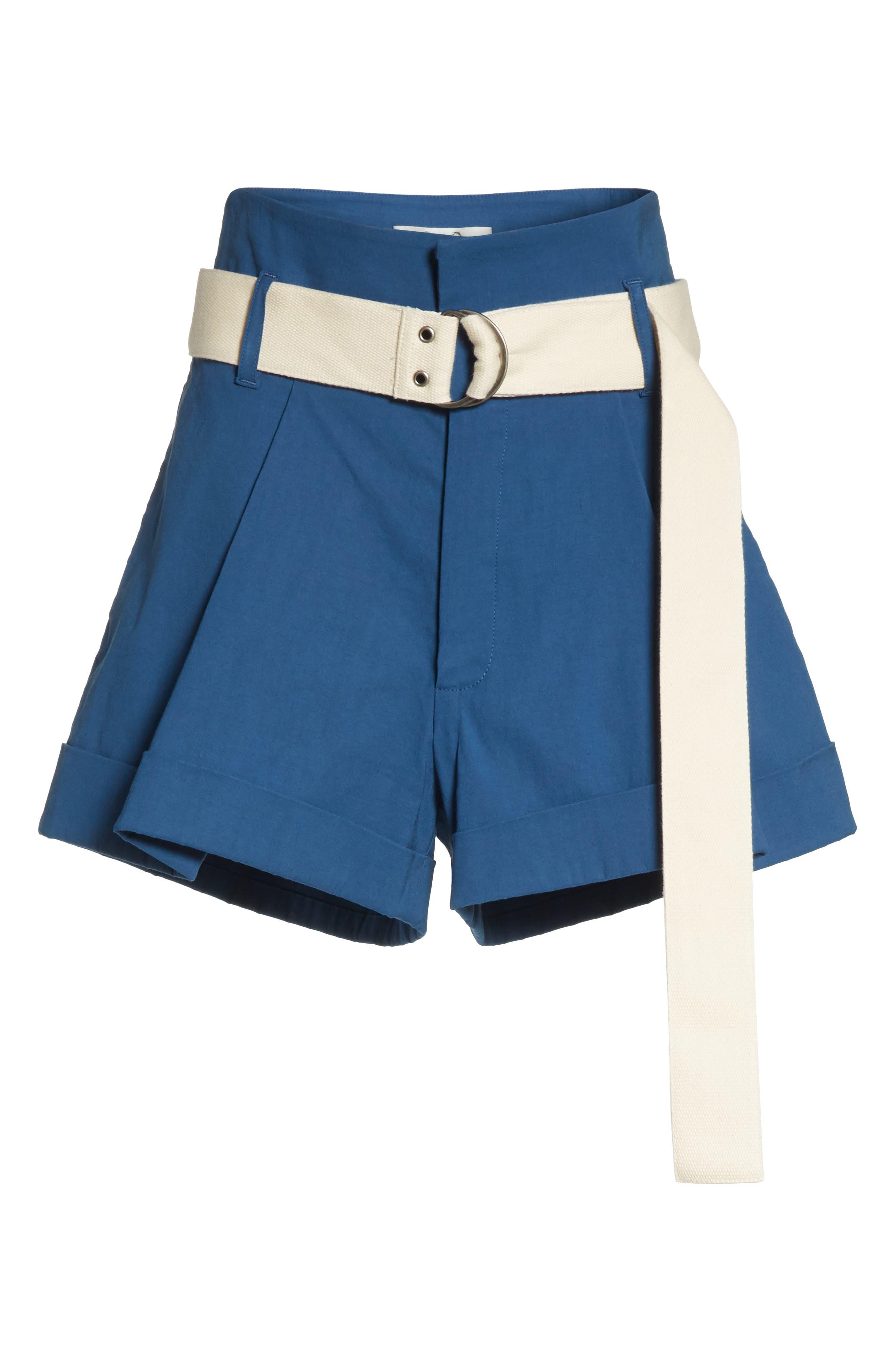 Poppy Belted Cotton & Linen Blend Shorts,                             Alternate thumbnail 6, color,                             400
