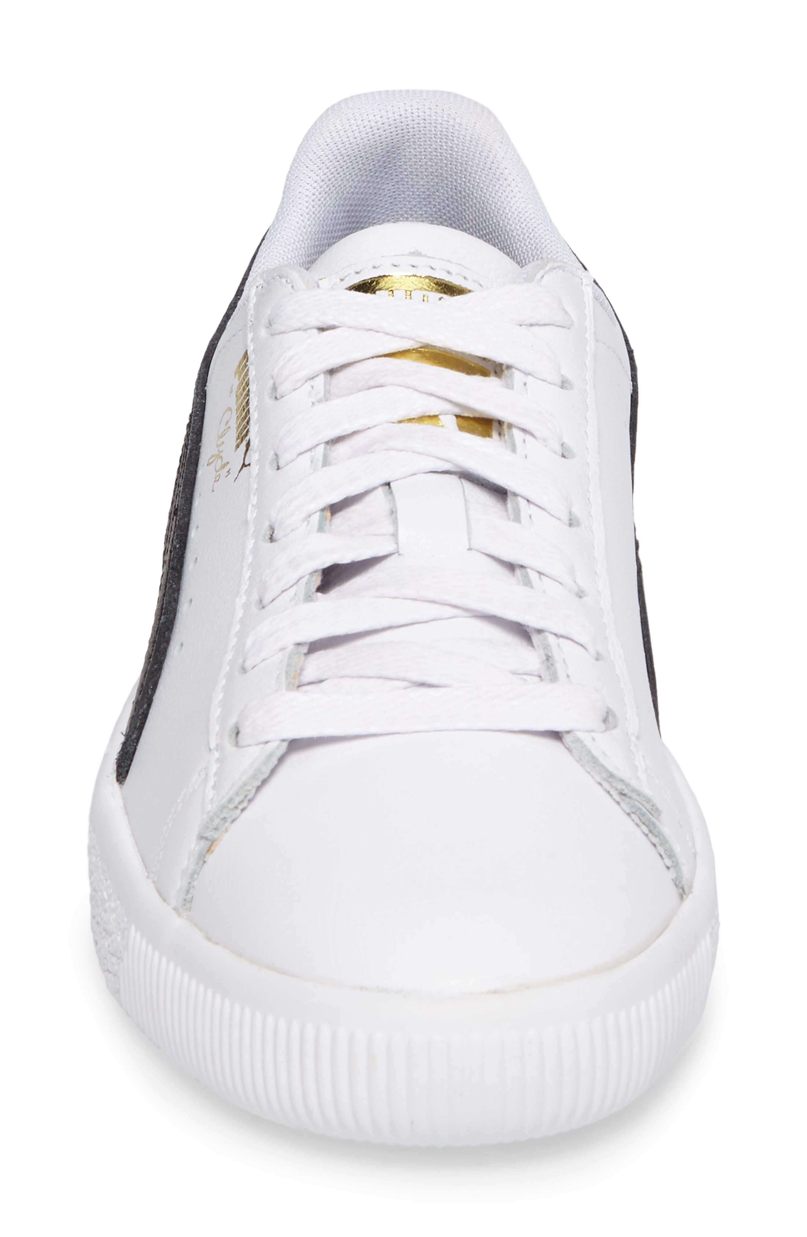 Clyde Sneaker,                             Alternate thumbnail 4, color,                             WHITE/ BLACK/ GOLD