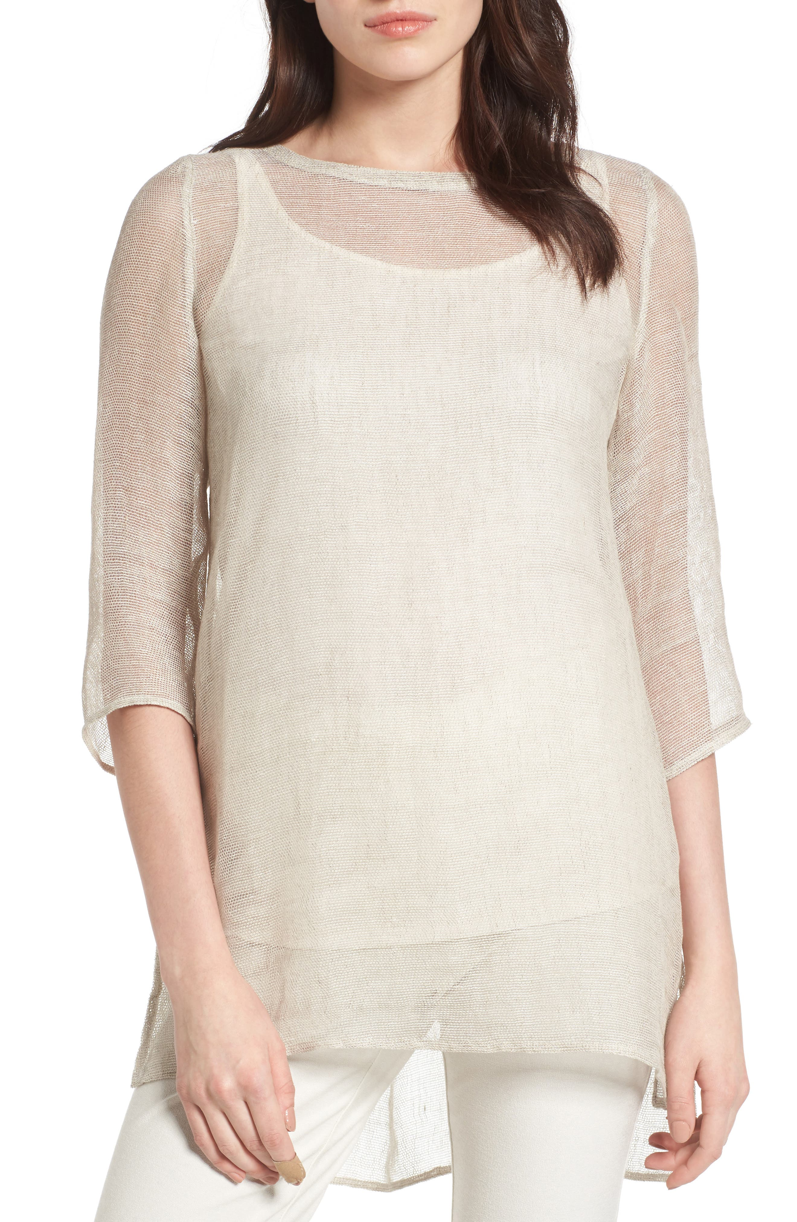 Organic Linen Blend Tunic,                             Main thumbnail 2, color,