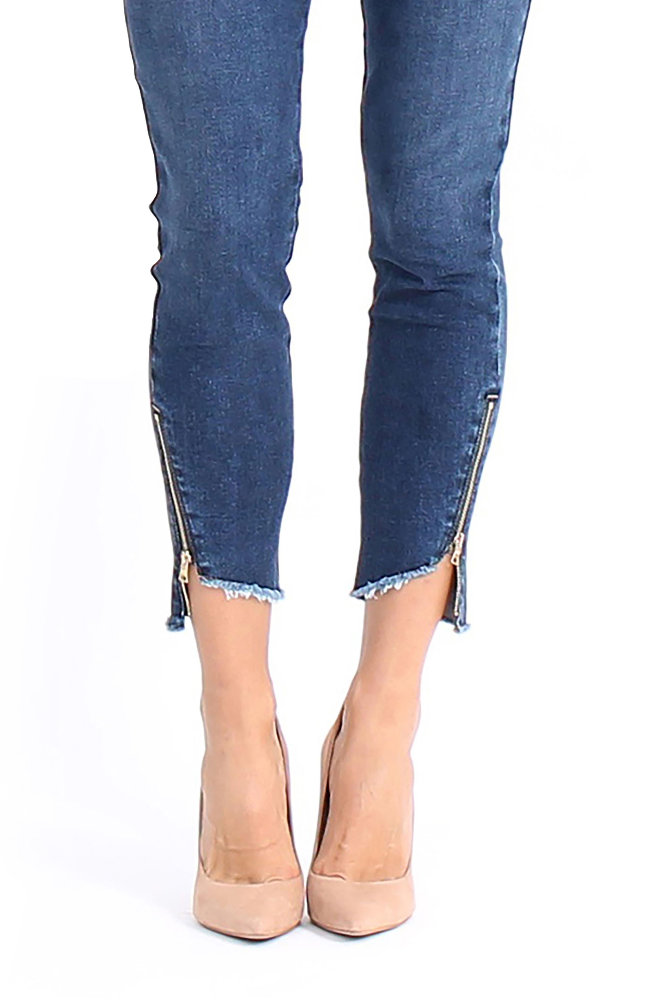 Ellie Uneven Zip Slant Hem Jeans,                             Alternate thumbnail 4, color,
