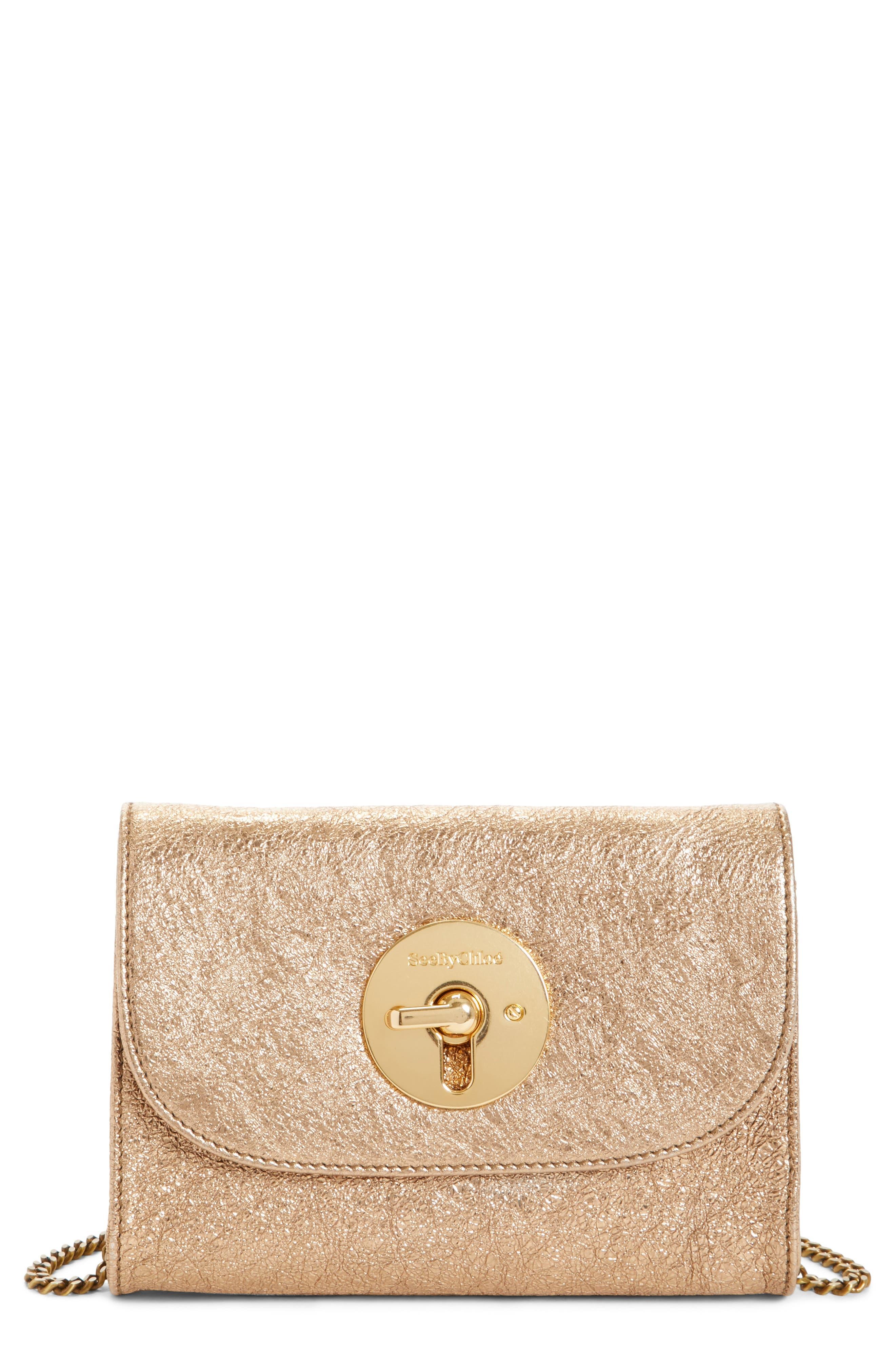 Mini Lois Metallic Calfskin Leather Crossbody Bag,                         Main,                         color, SANDY BROWN